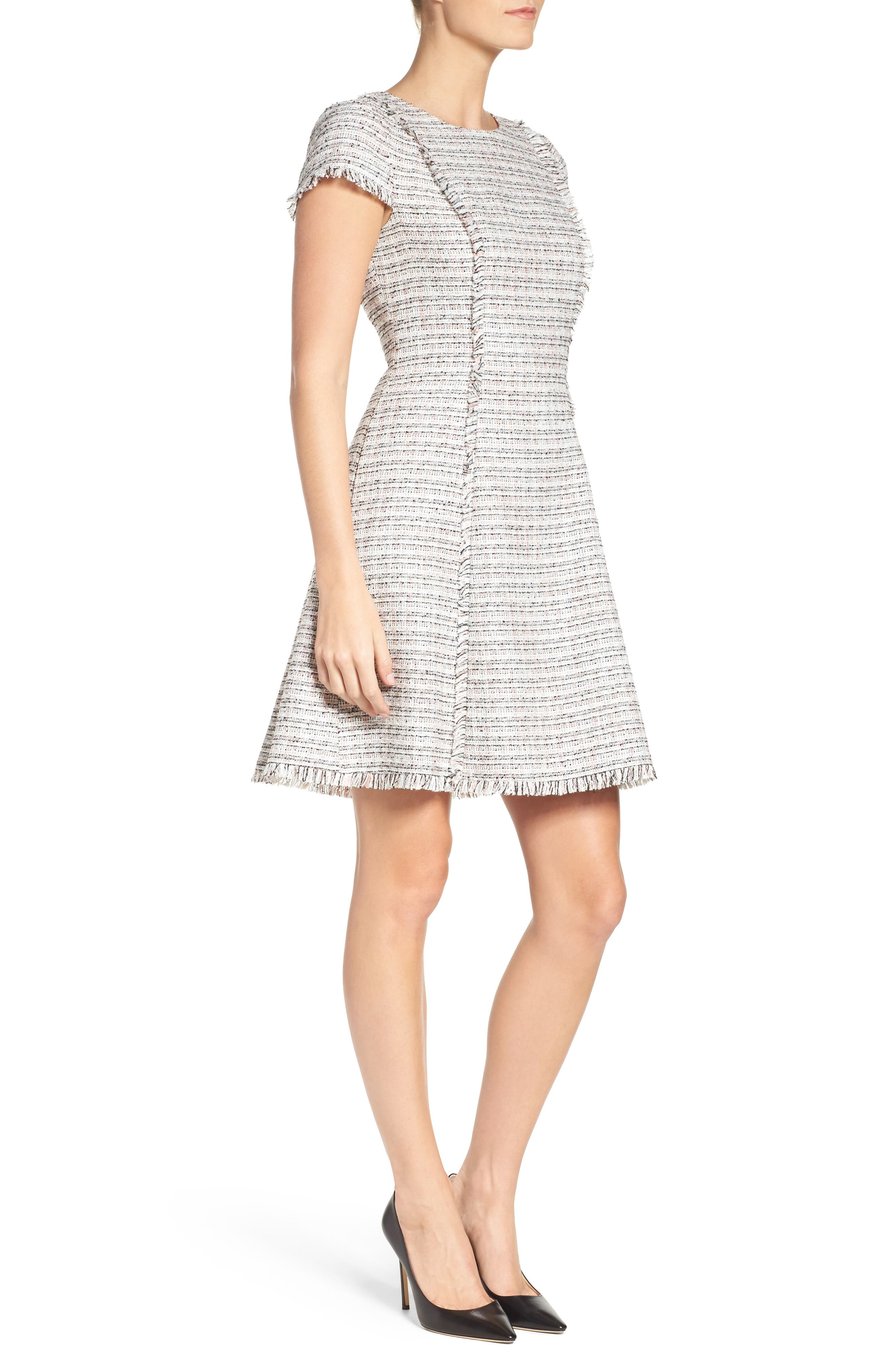 Tweed Fit & Flare Dress,                             Alternate thumbnail 3, color,                             070