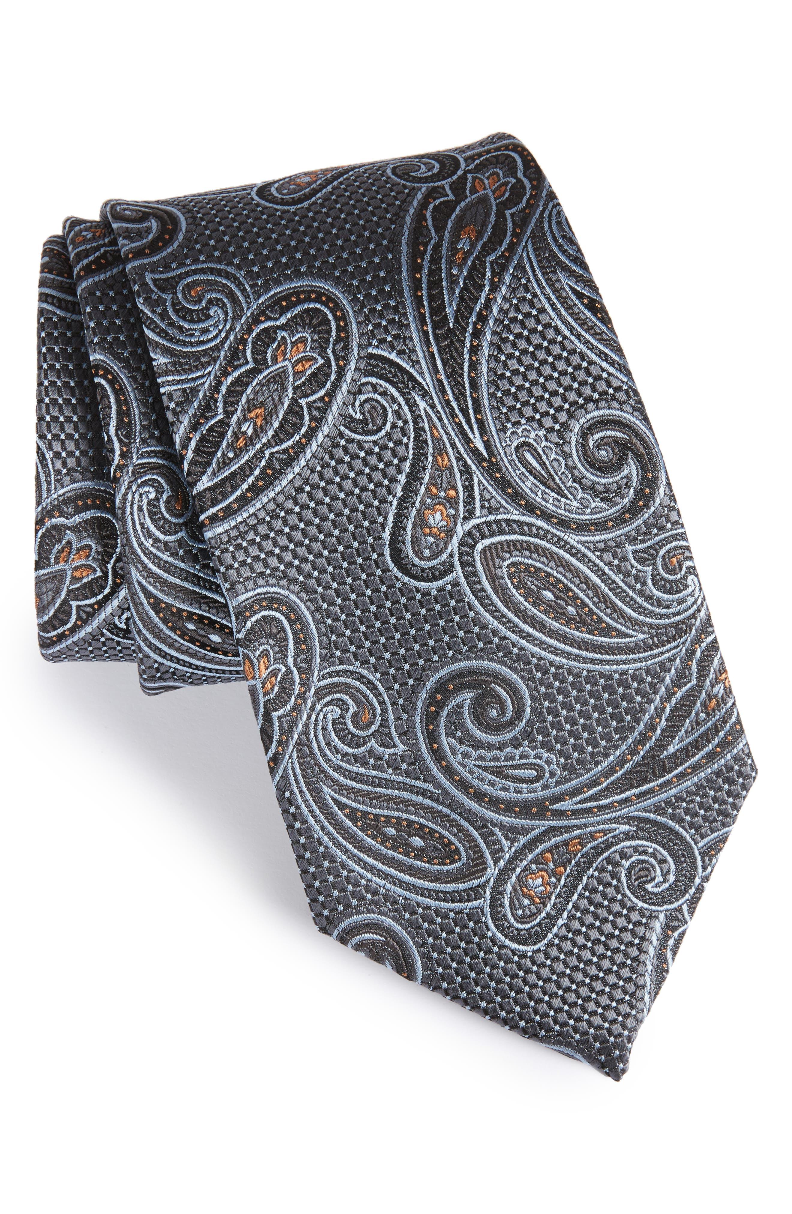Paisley Silk Tie,                             Main thumbnail 1, color,                             001