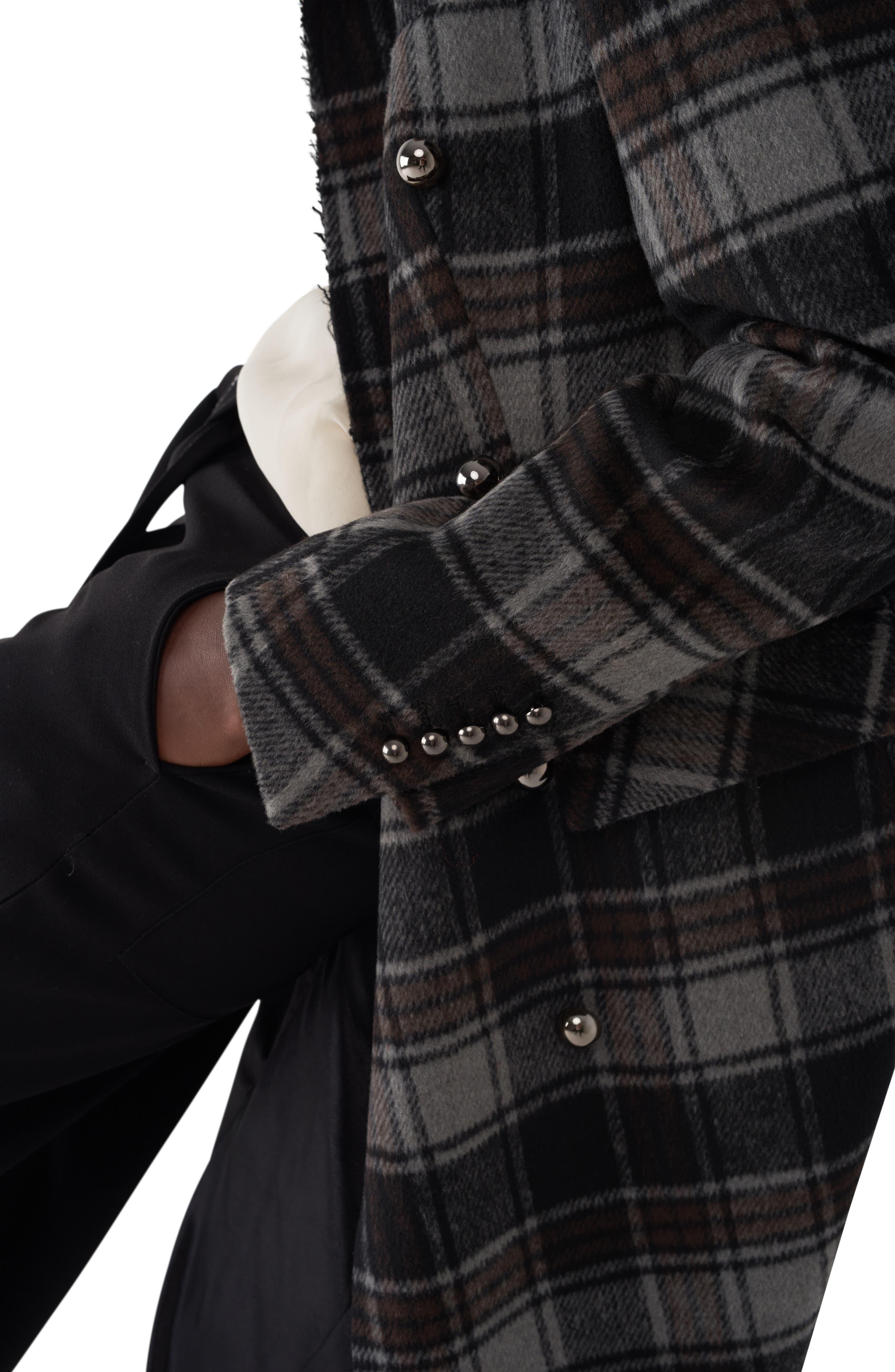 Gin Twill Check Long Coat,                             Alternate thumbnail 4, color,                             BROWN/ BLACK