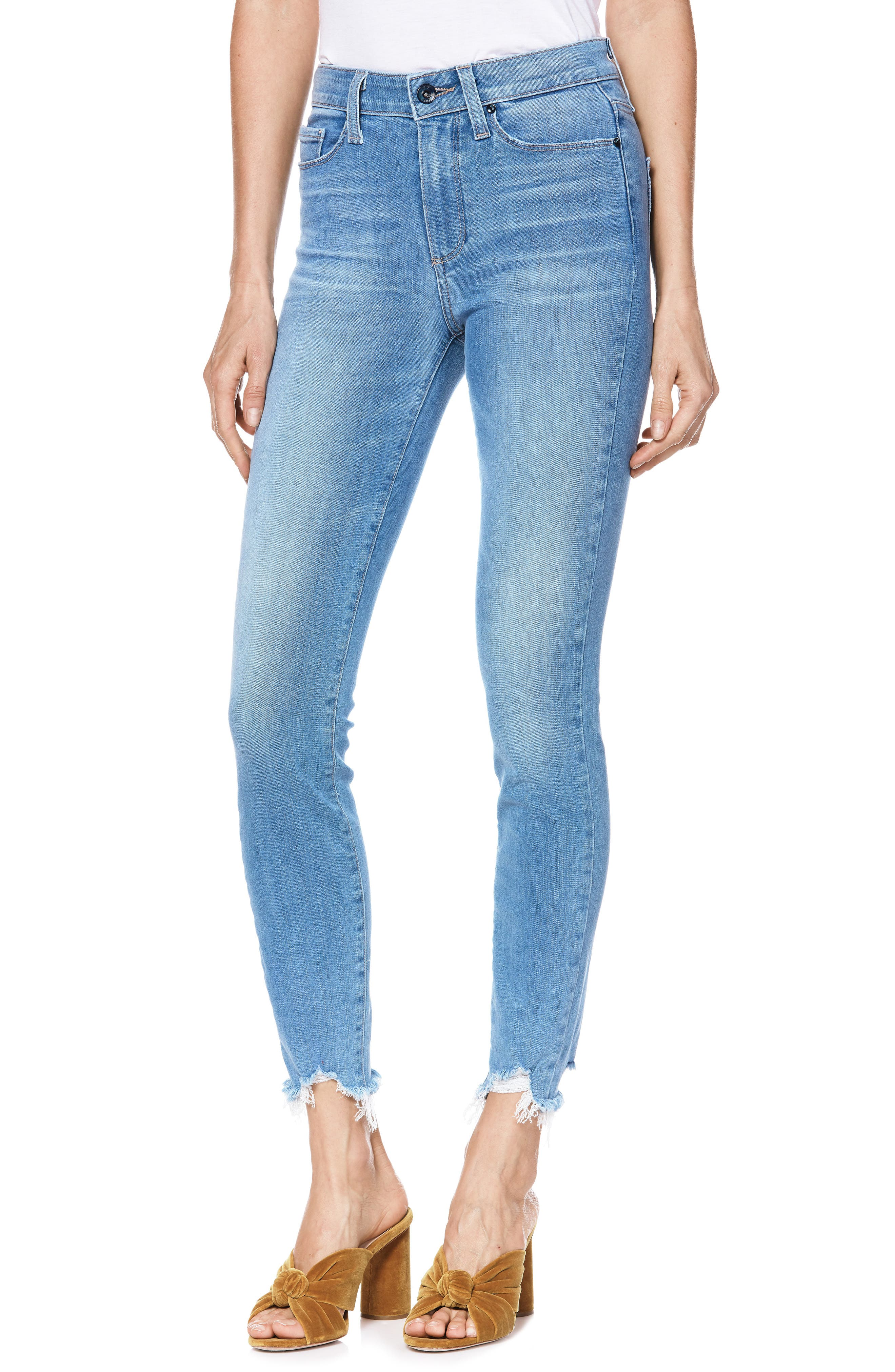 Transcend Vintage - Hoxton High Waist Ripped Crop Skinny Jeans,                         Main,                         color, ALAMEDA