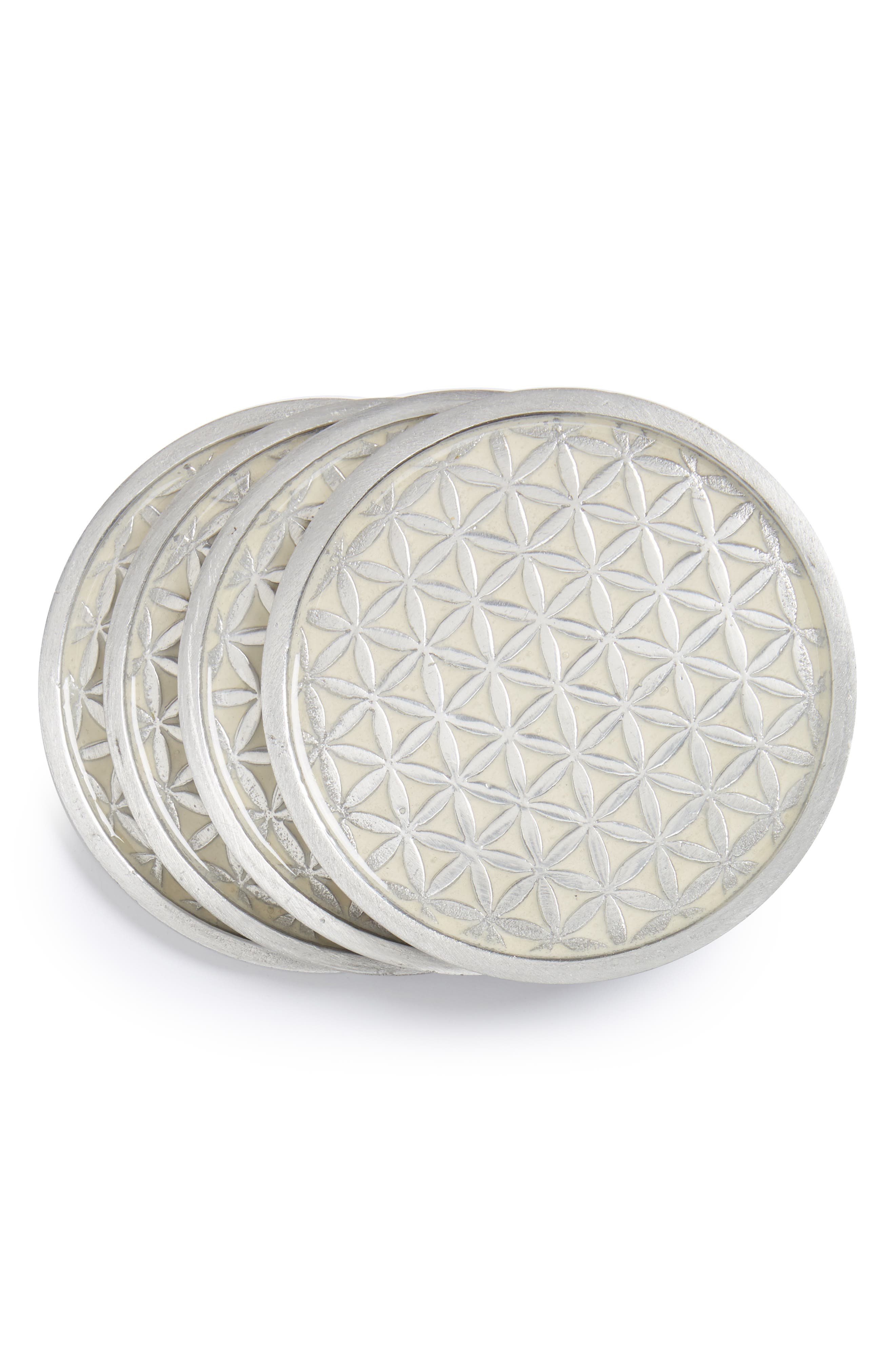 Flower of Life Set of 4 Coasters,                             Main thumbnail 1, color,                             100