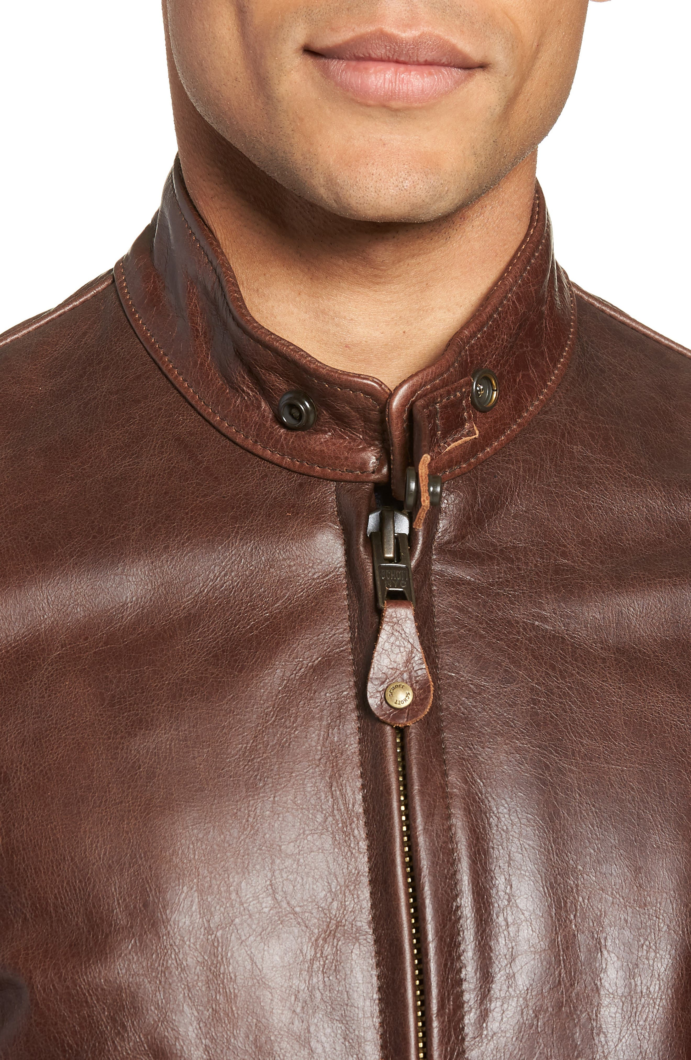 Café Racer Waxy Cowhide Leather Jacket,                             Alternate thumbnail 5, color,                             BROWN