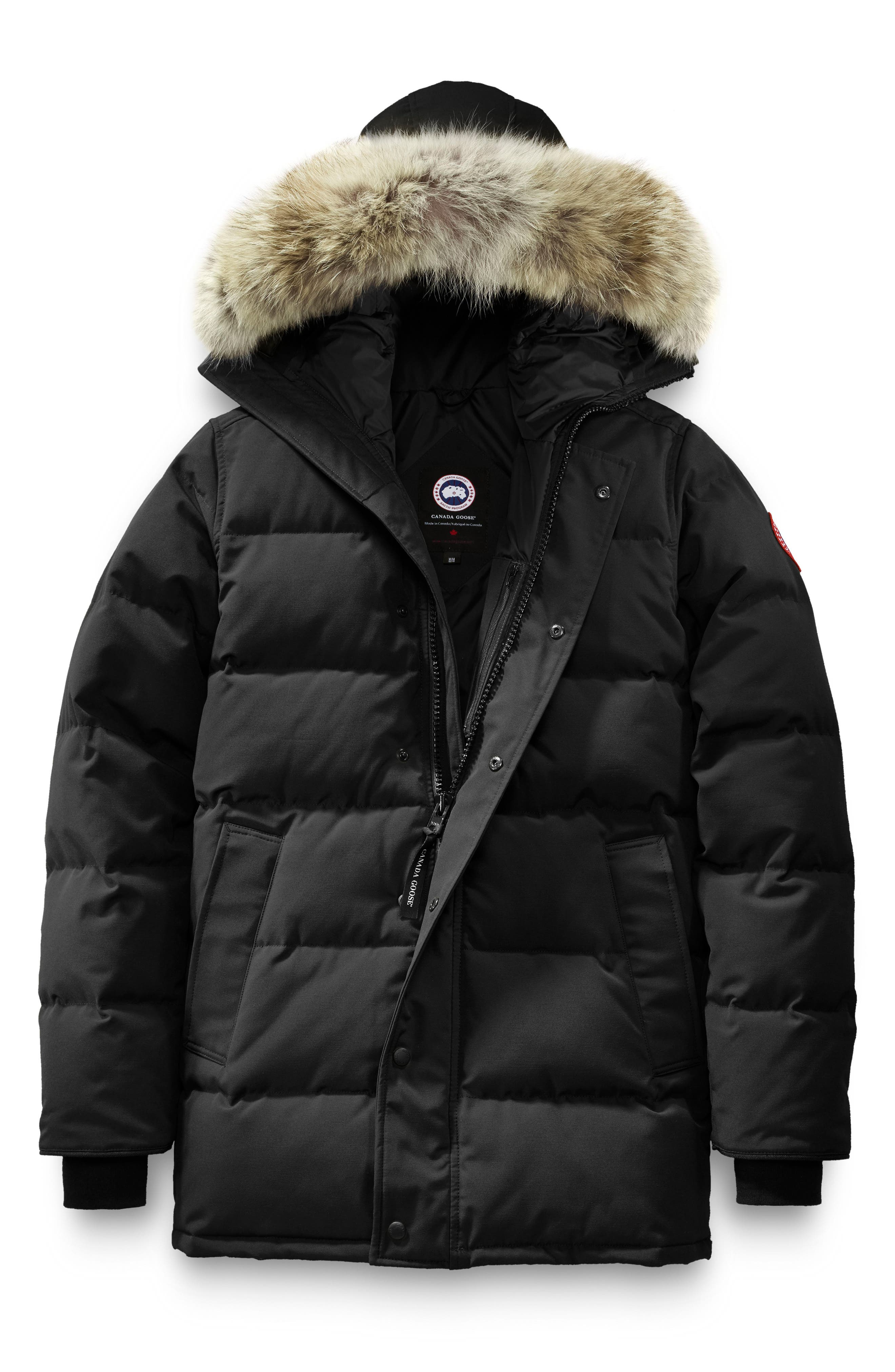 'Carson' Slim Fit Hooded Packable Parka with Genuine Coyote Fur Trim,                             Alternate thumbnail 4, color,                             BLACK