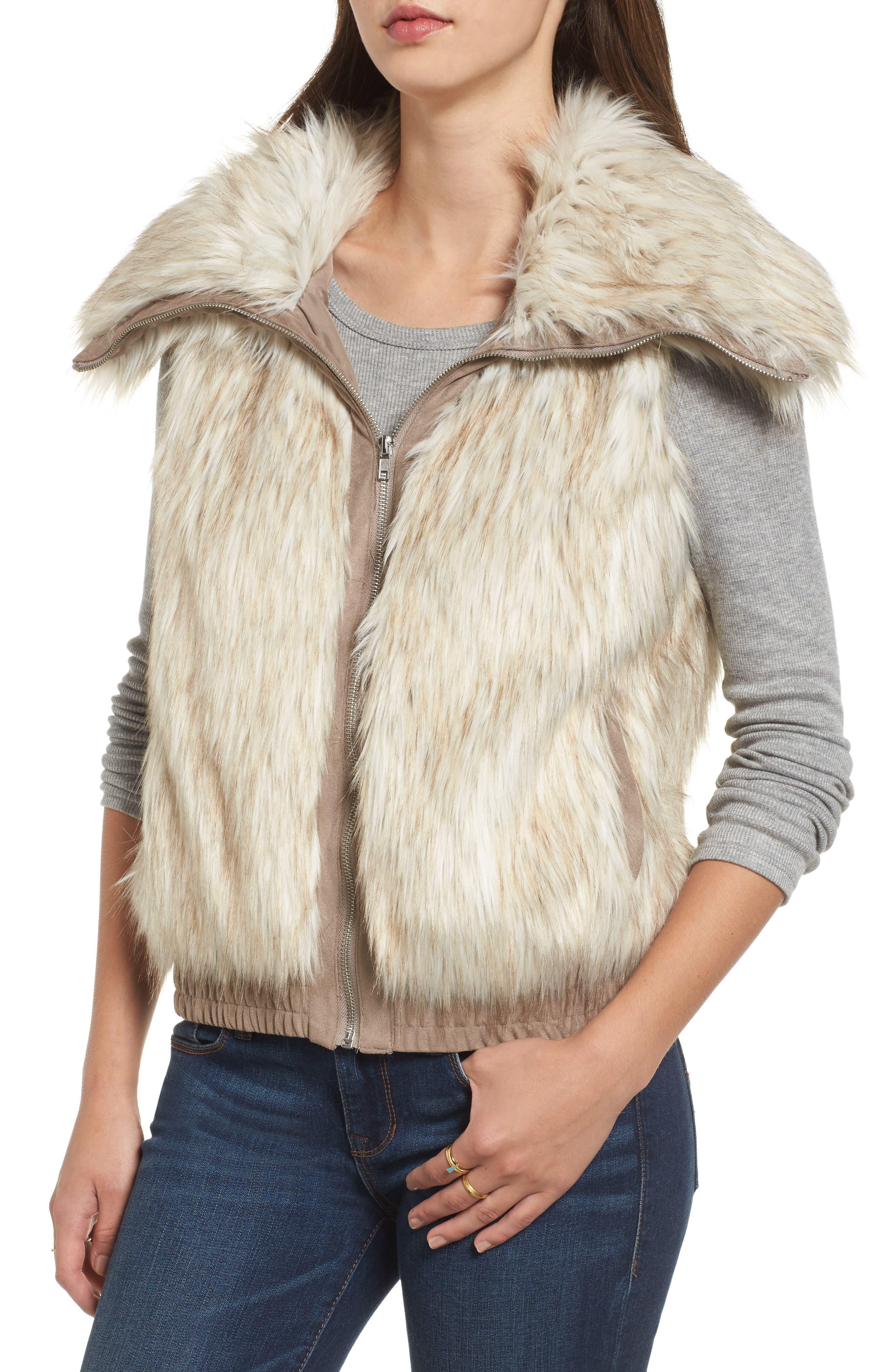 Collared Faux Fur Vest,                             Alternate thumbnail 4, color,                             161