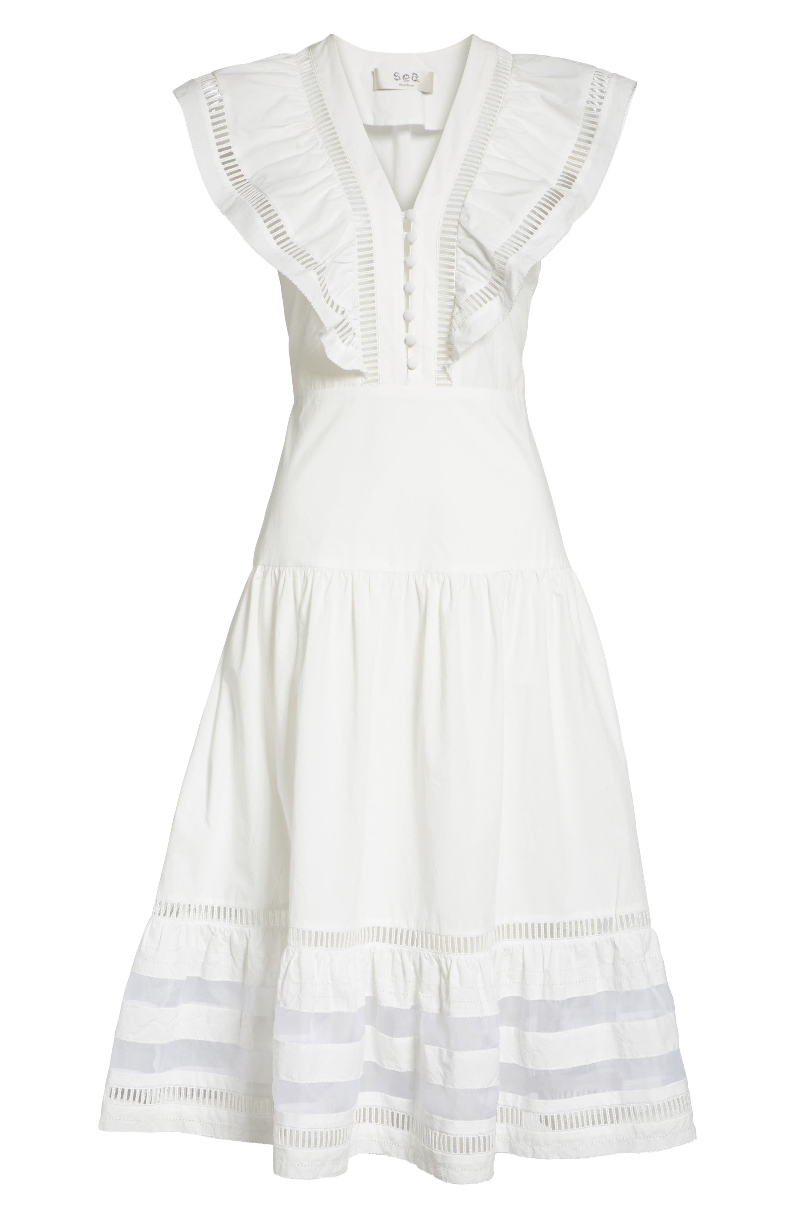 Capri Ladder Stitch Trim Midi Dress,                             Alternate thumbnail 7, color,                             903