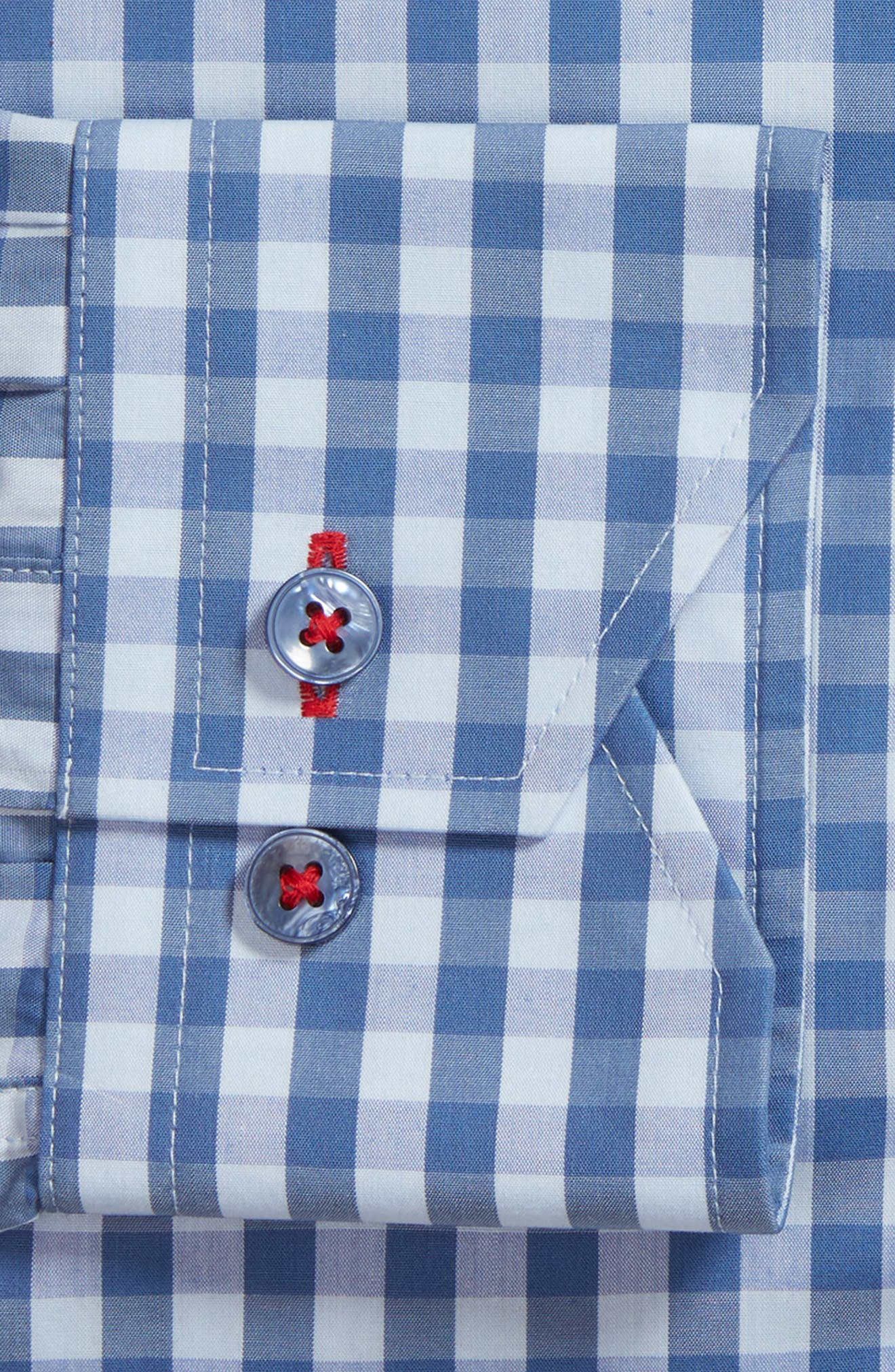 Trim Fit Gingham Dress Shirt,                             Alternate thumbnail 6, color,                             BLUE