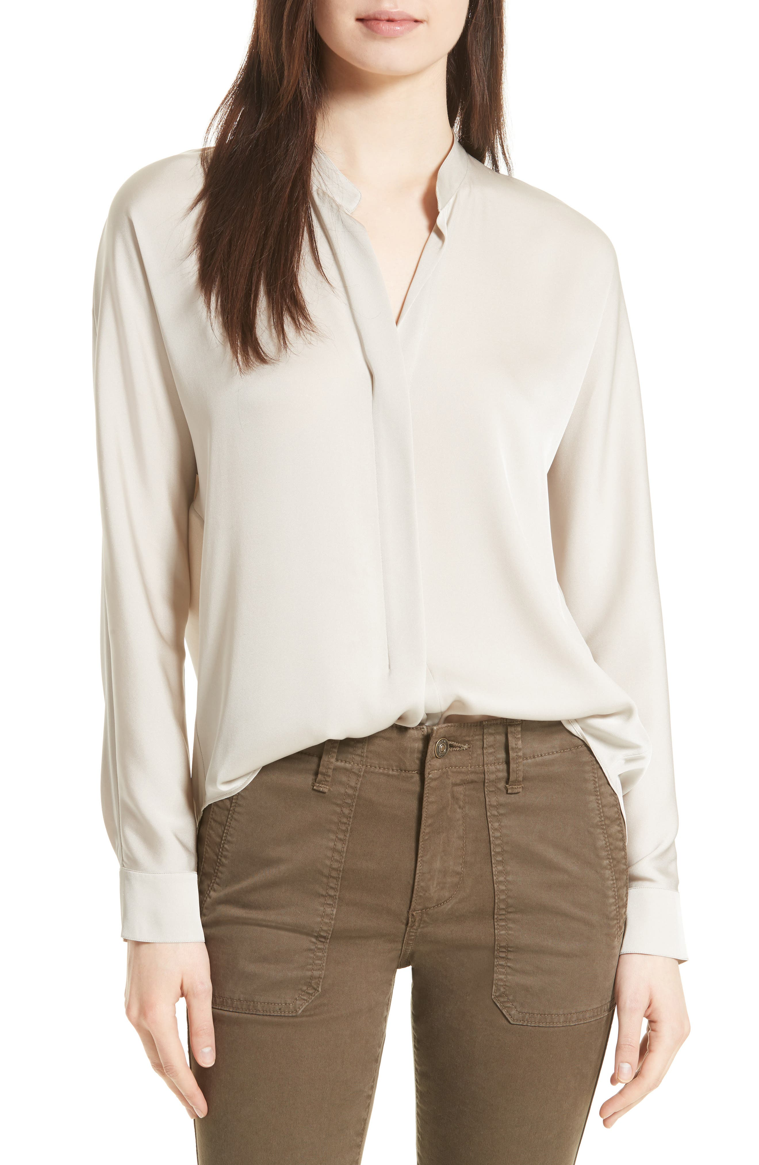 Double Front Stretch Silk Shirt,                         Main,                         color, 254