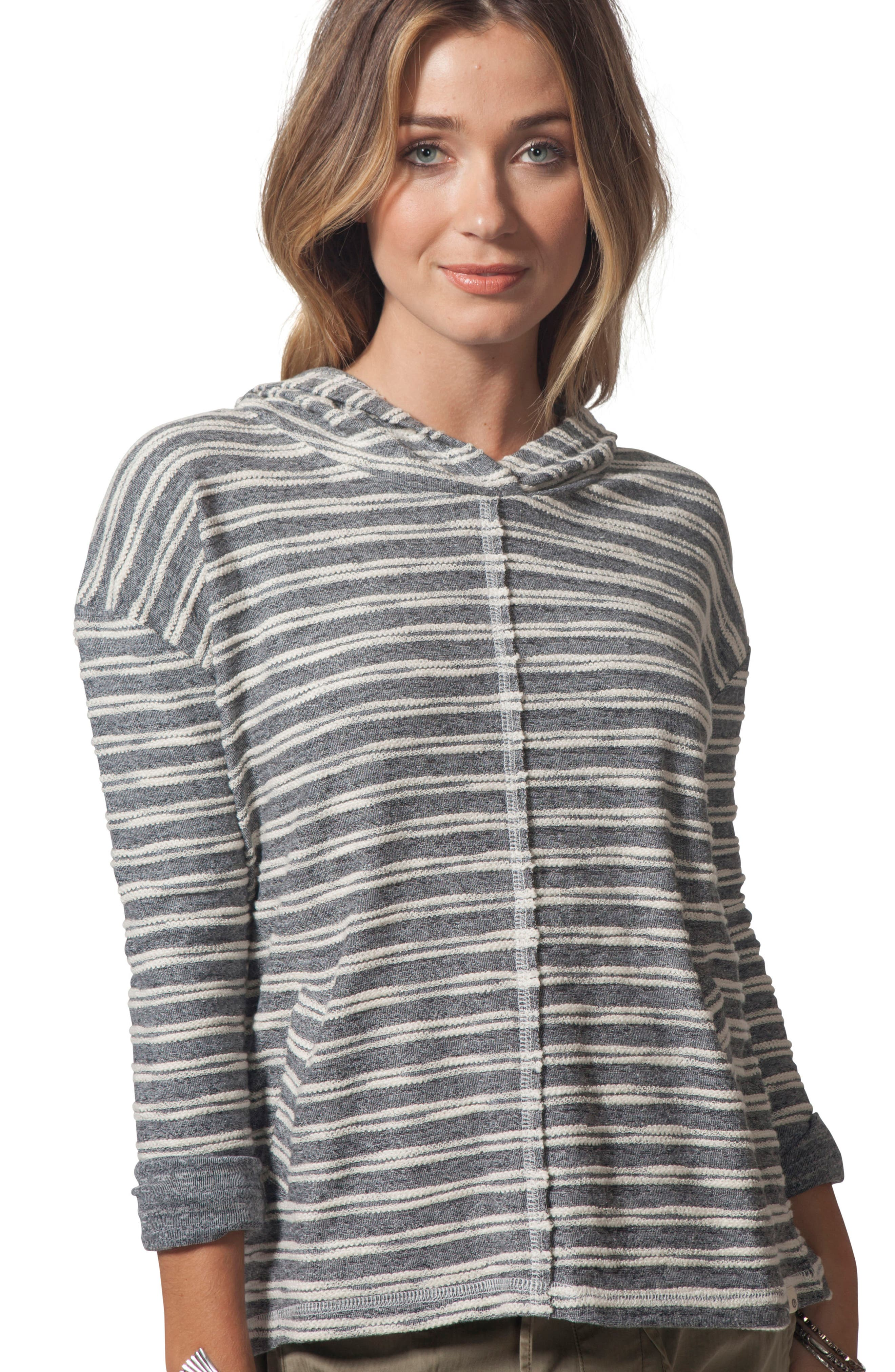 Next Move Stripe Hooded Pullover,                             Alternate thumbnail 4, color,                             BLACK