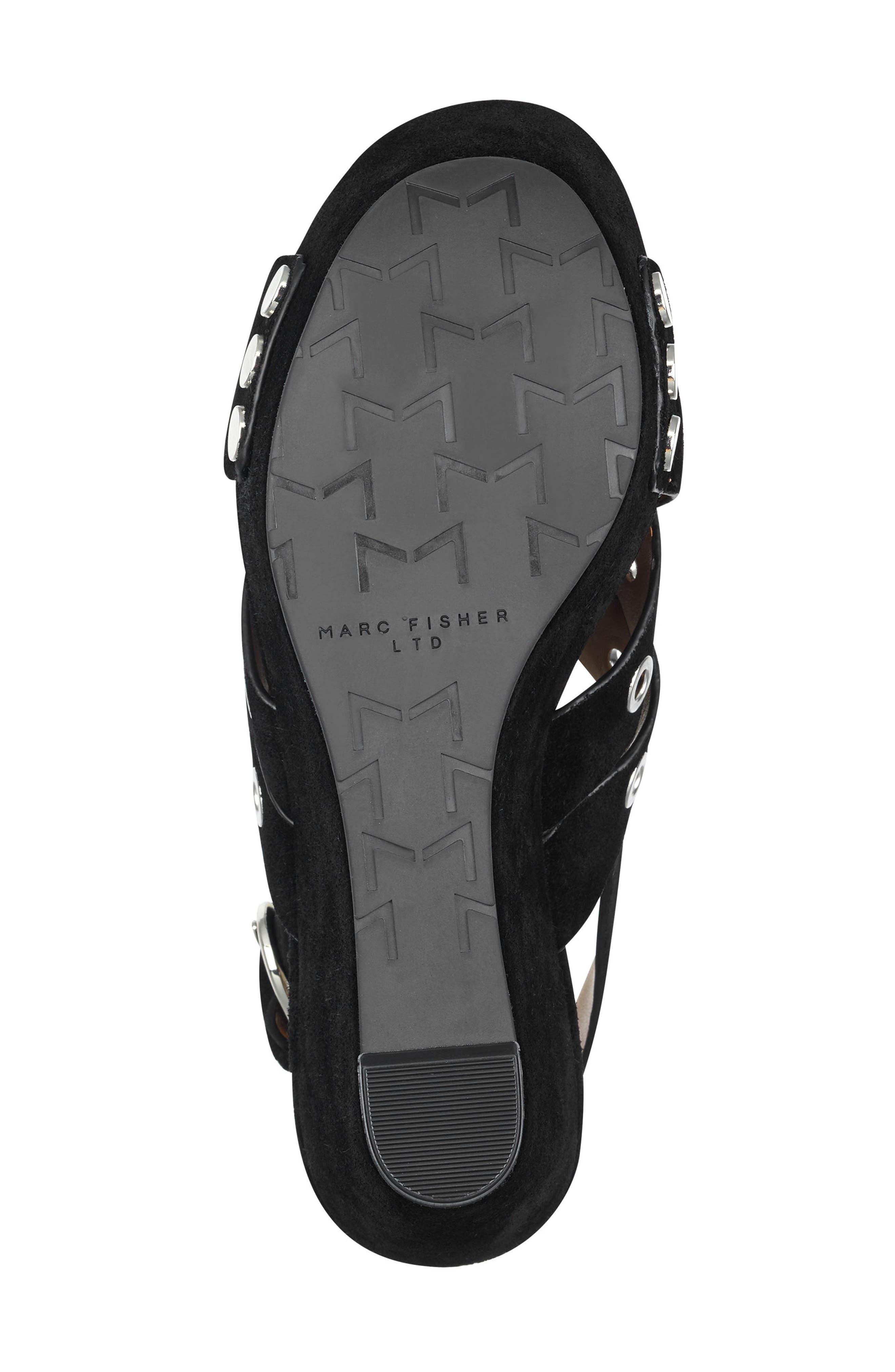 Bloom Platform Sandal,                             Alternate thumbnail 6, color,                             BLACK SUEDE