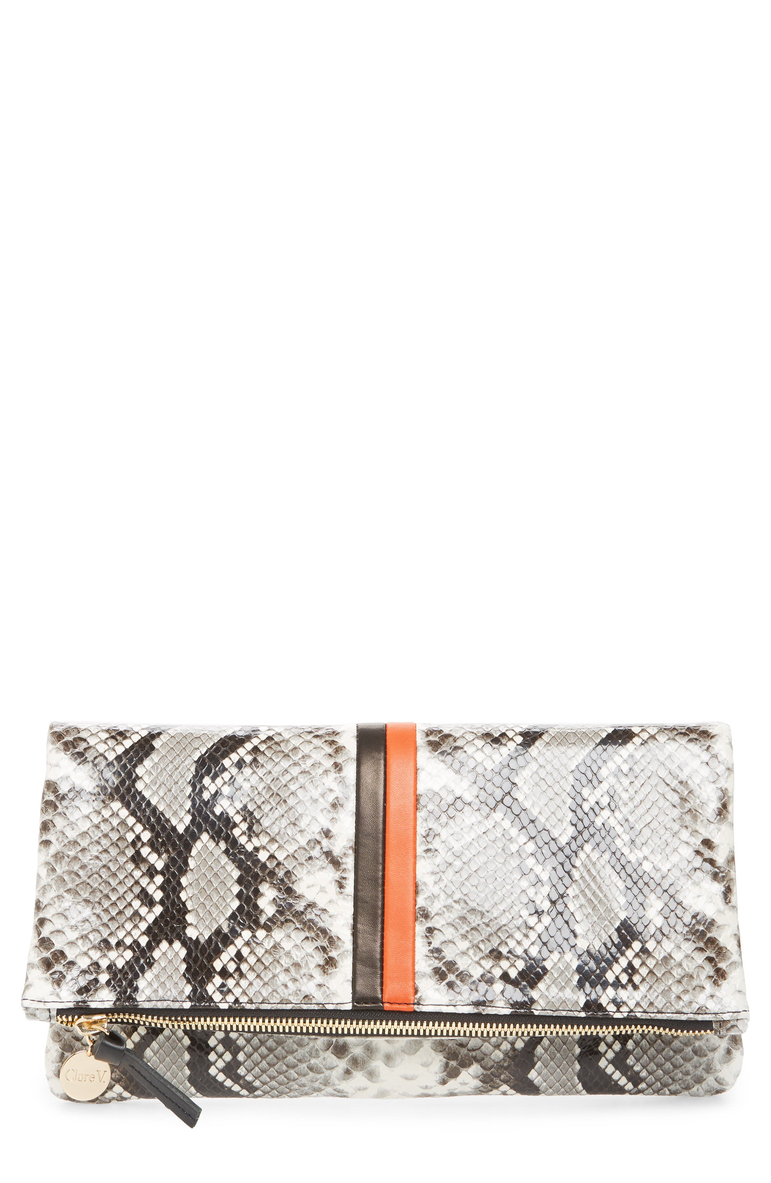 Python Embossed Leather Foldover Clutch,                             Main thumbnail 1, color,                             BLACK PYTHON WITH STRIPES