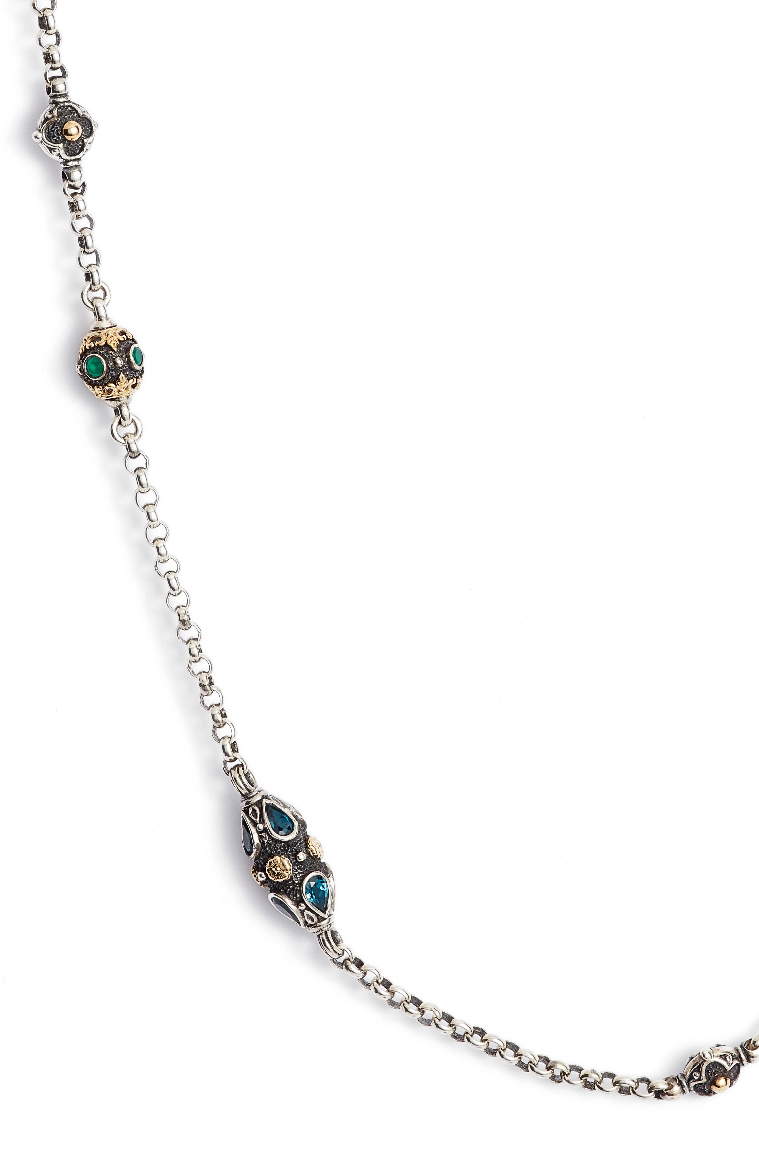 Nemesis Long Station Necklace,                             Alternate thumbnail 2, color,                             JADE/ LONDON BLUE TOPAZ