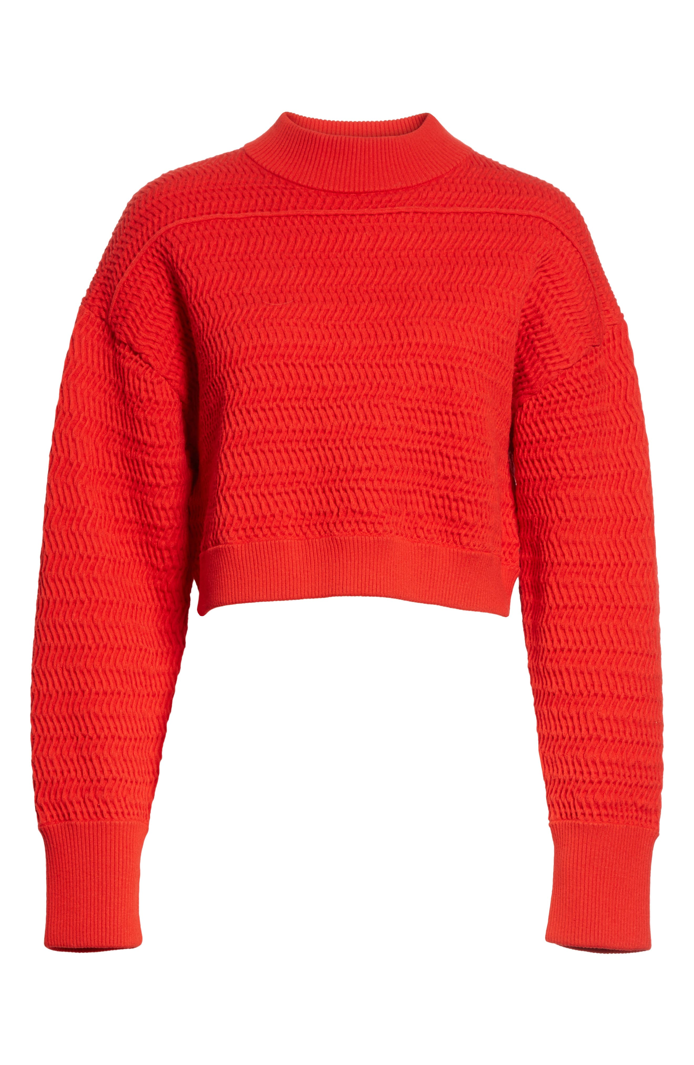 Faux Plait Silk Blend Crop Sweater,                             Alternate thumbnail 6, color,                             620