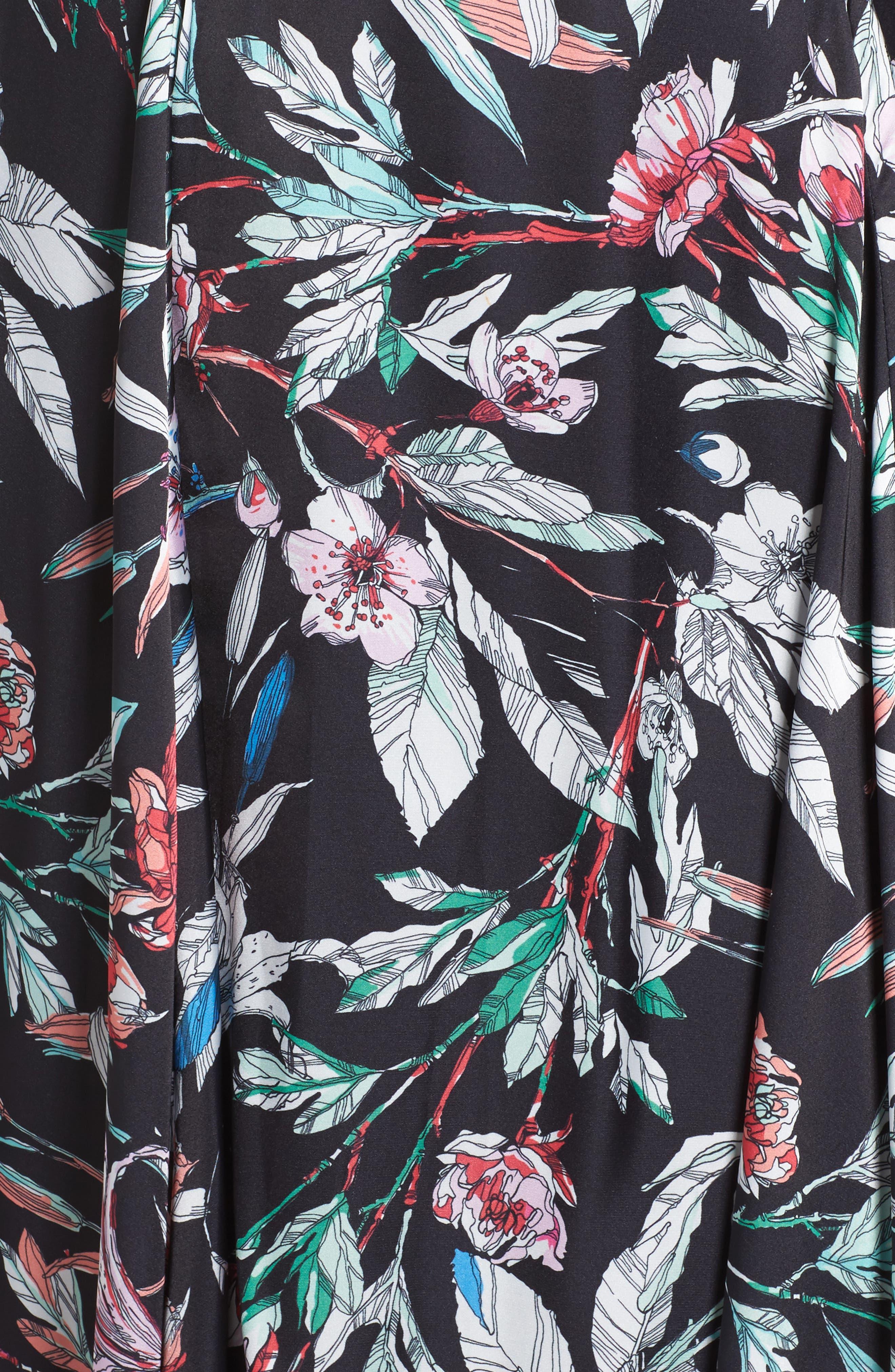 Print Satin Chiffon Handkerchief Dress,                             Alternate thumbnail 6, color,                             BLACK MULTI