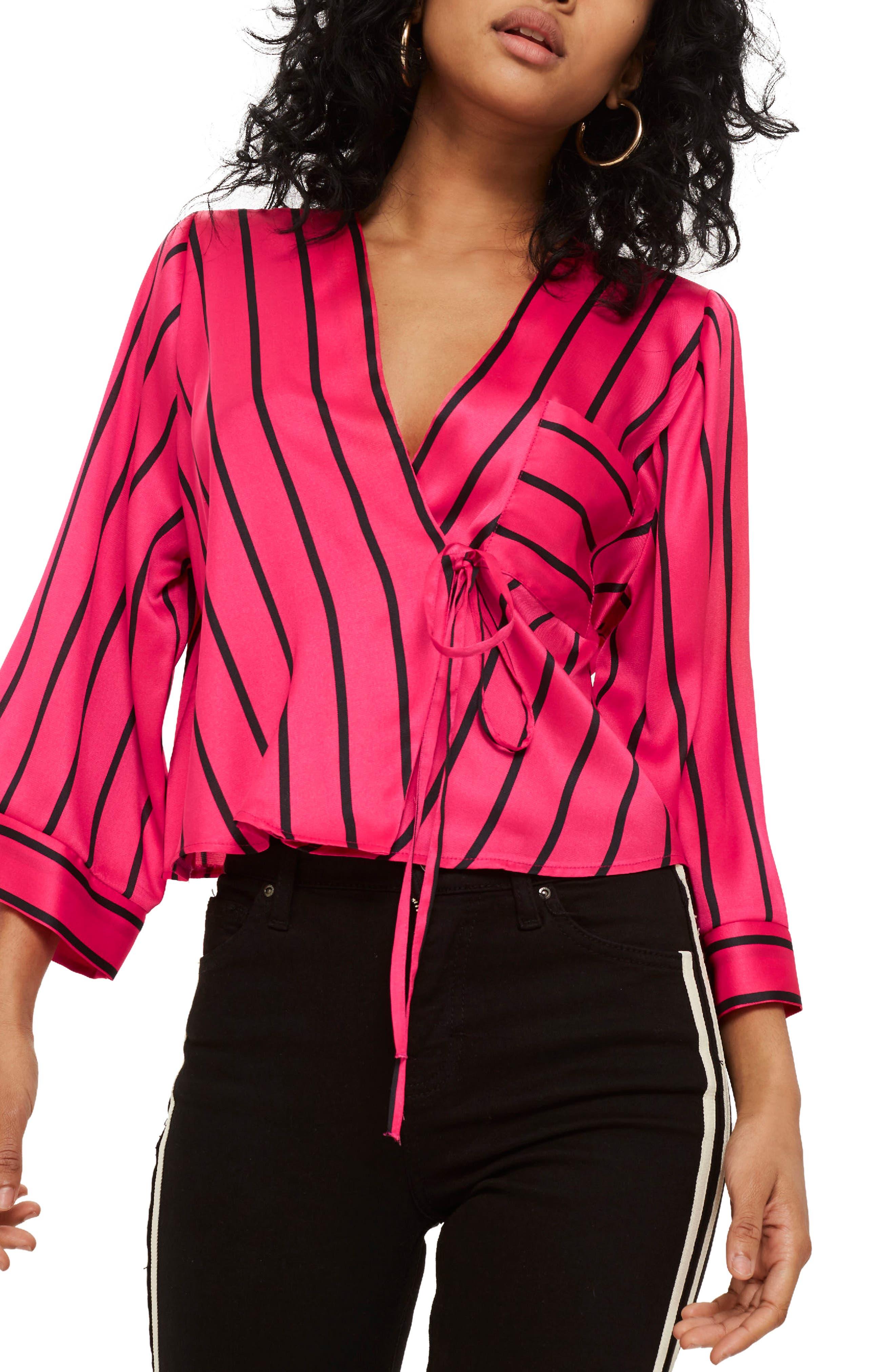 Stripe Tie Wrap Kimono Top,                             Main thumbnail 1, color,