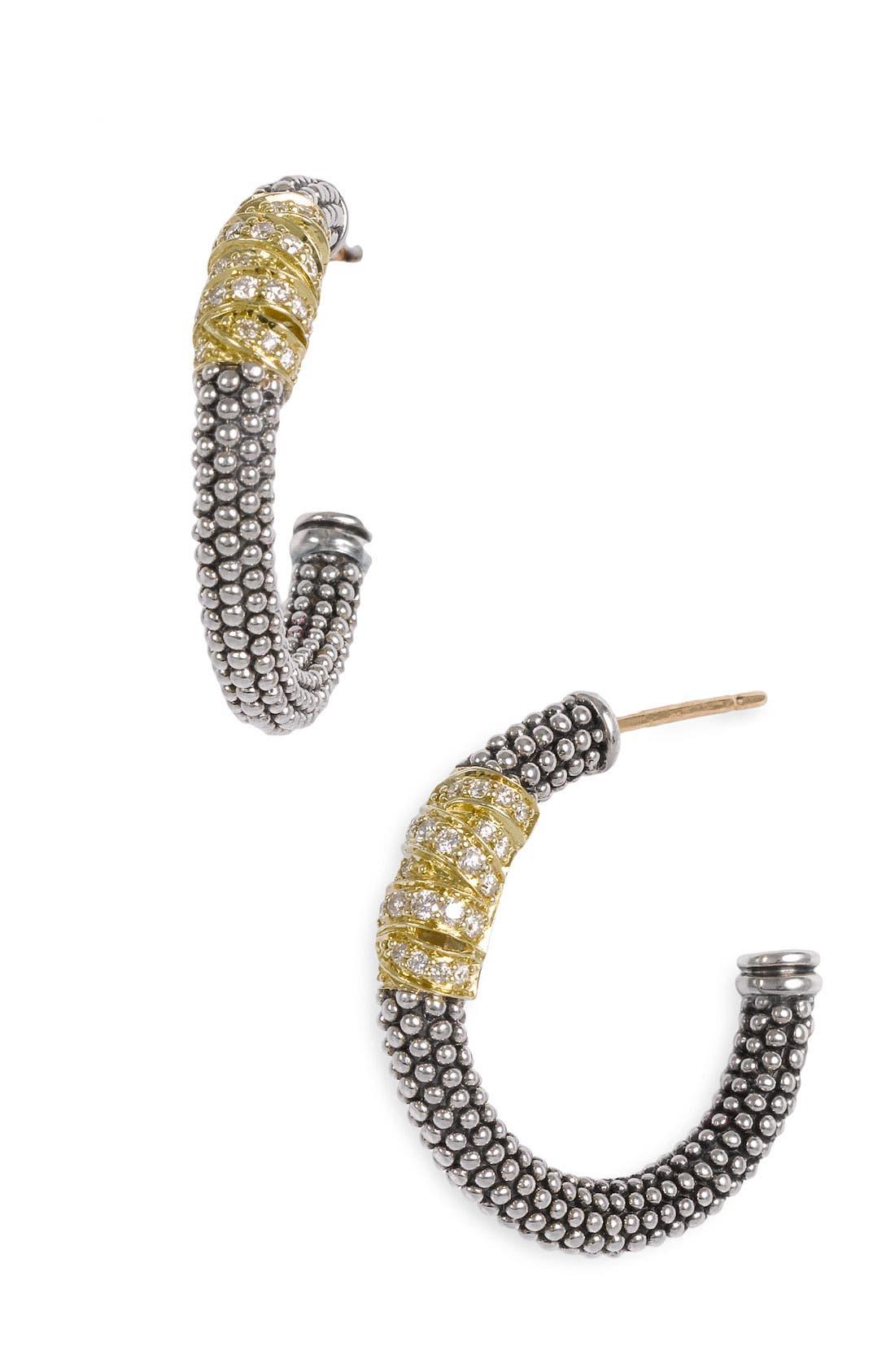 'Embrace' Caviar Diamond Hoop Earrings,                         Main,                         color, STERLING SILVER/ GOLD