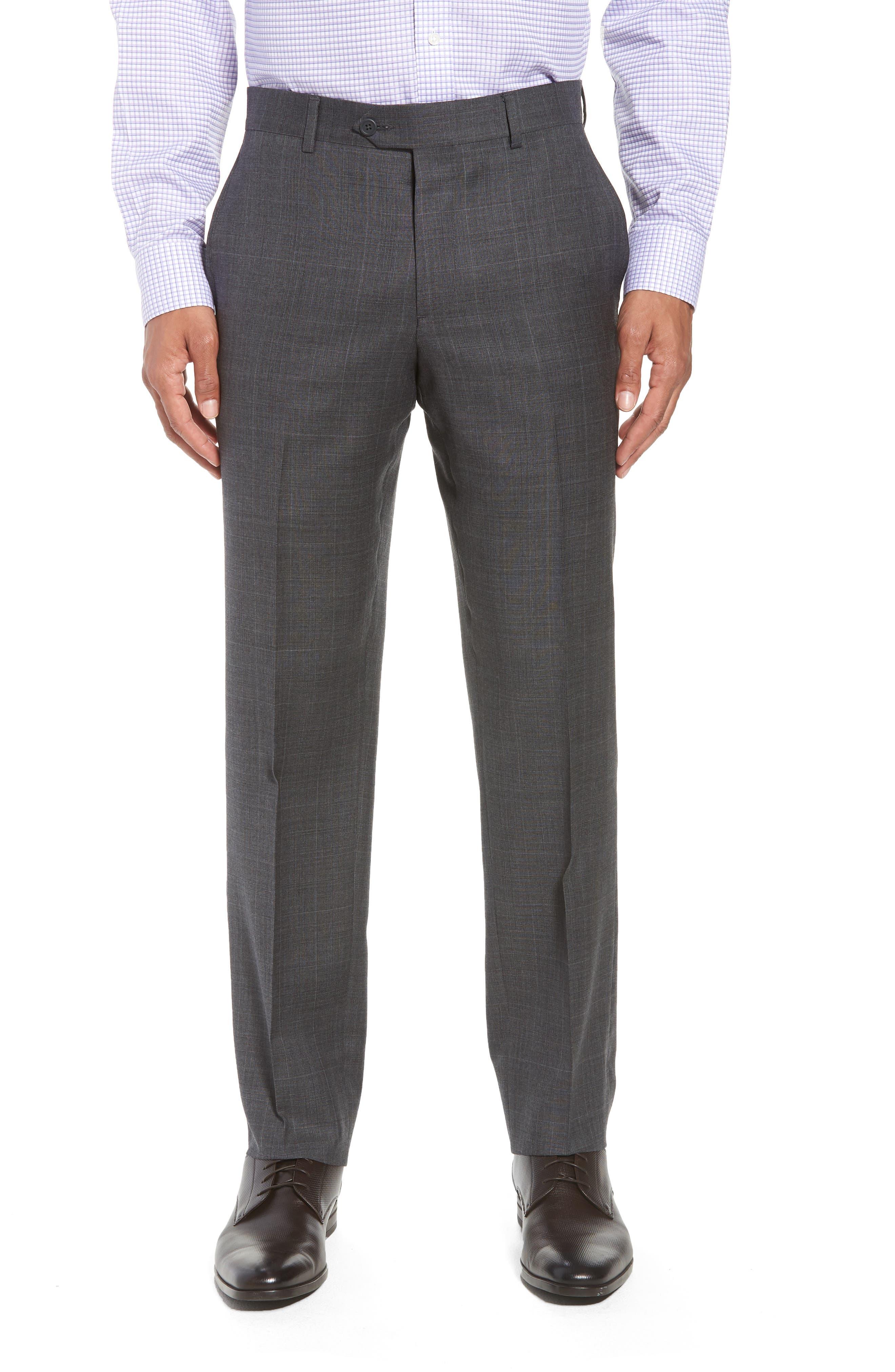Trim Fit Plaid Wool Suit,                             Alternate thumbnail 6, color,                             010