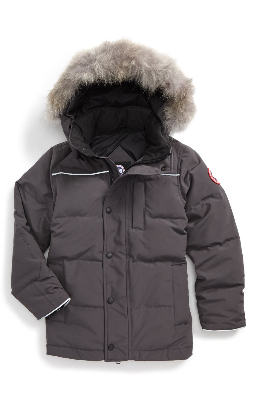 50f5a23b0181 Canada Goose Eakin Genuine Coyote Fur Trim Down Parka (Little Boys ...