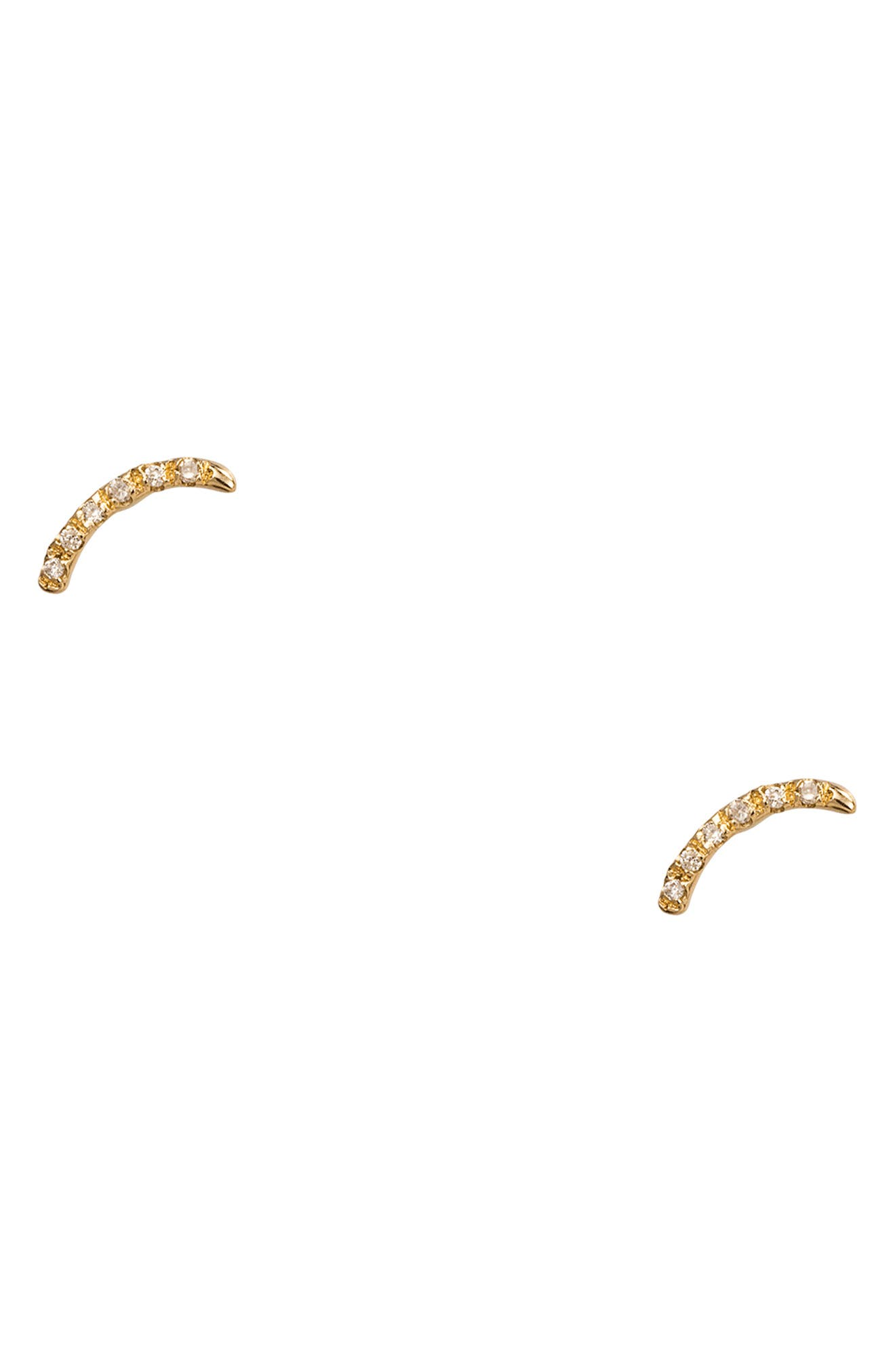 Micropavé Curved Diamond Earrings,                             Main thumbnail 1, color,                             14KT GOLD