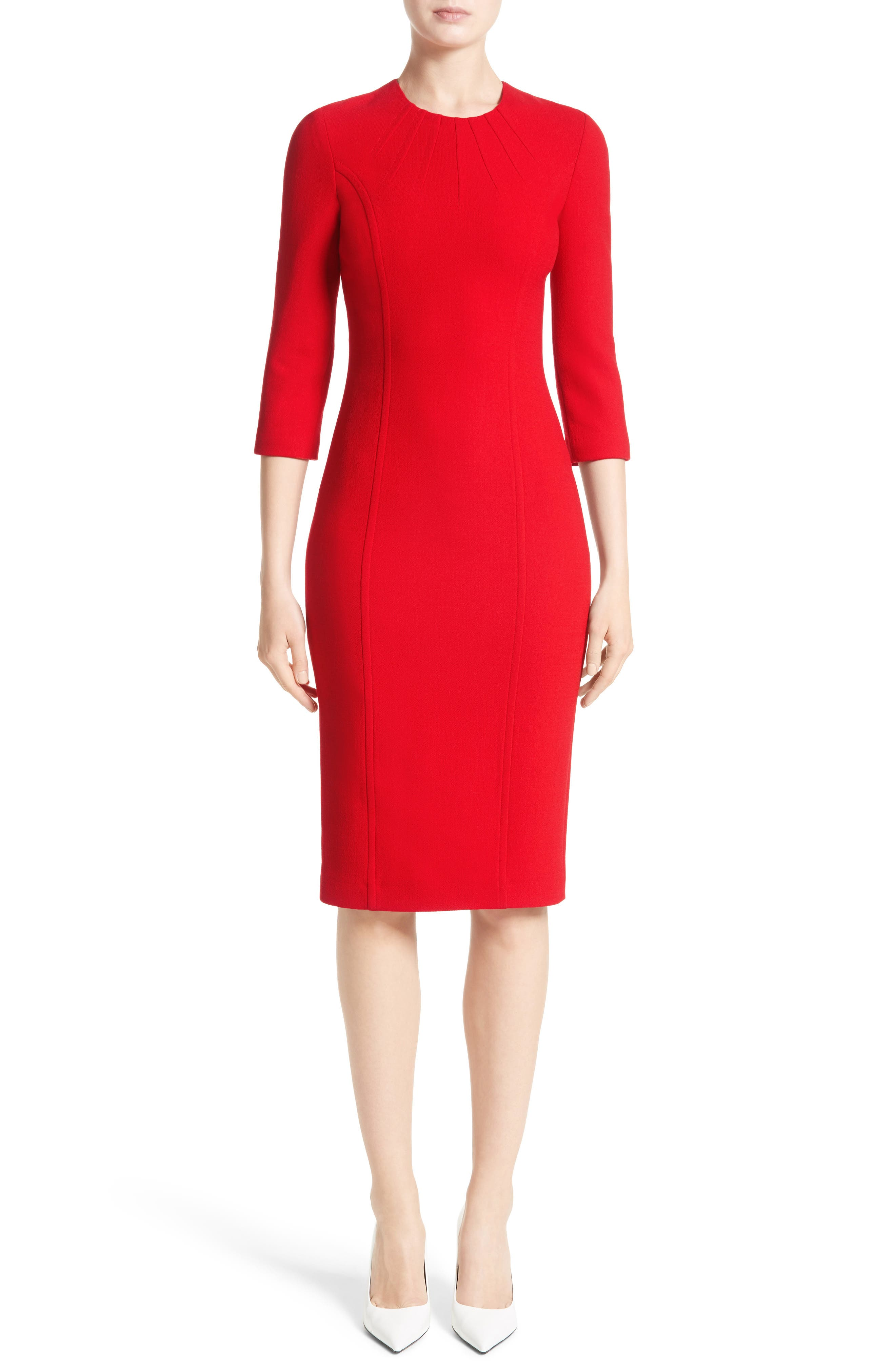 Stretch Wool Bouclé Sheath Dress,                             Alternate thumbnail 6, color,                             600