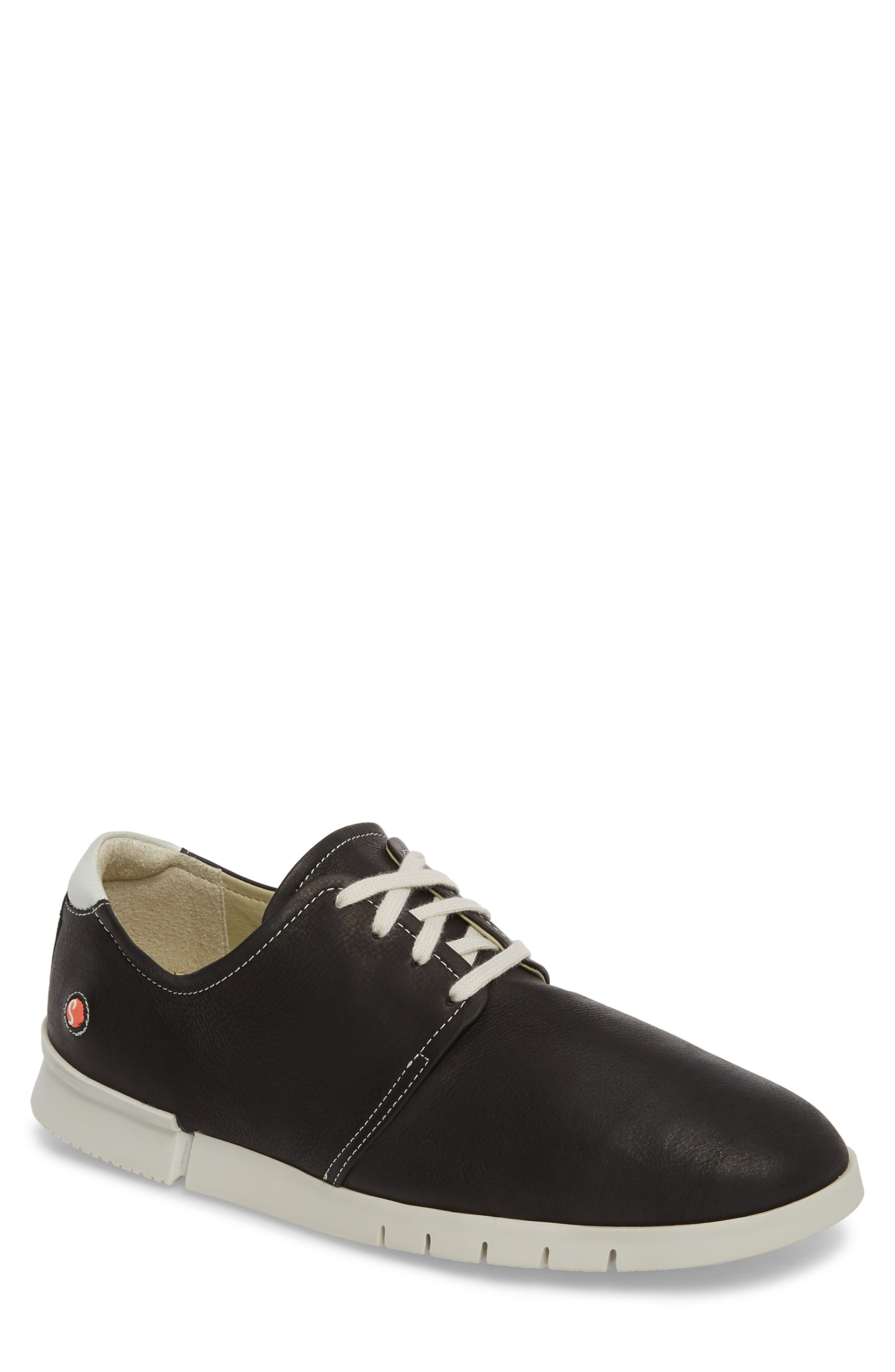 Cap Low Top Sneaker,                         Main,                         color, BLACK/ WHITE LEATHER