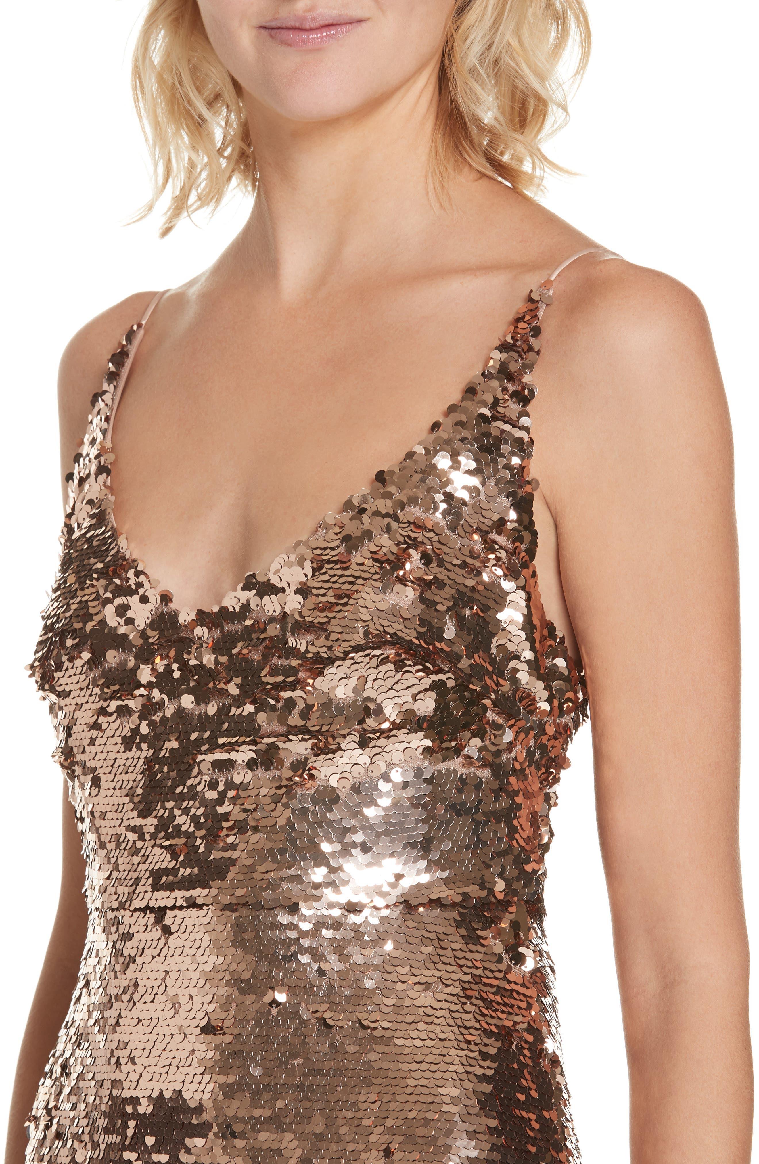 Aidan Sequin Ruffle Hem Midi Dress,                             Alternate thumbnail 4, color,                             BRONZE