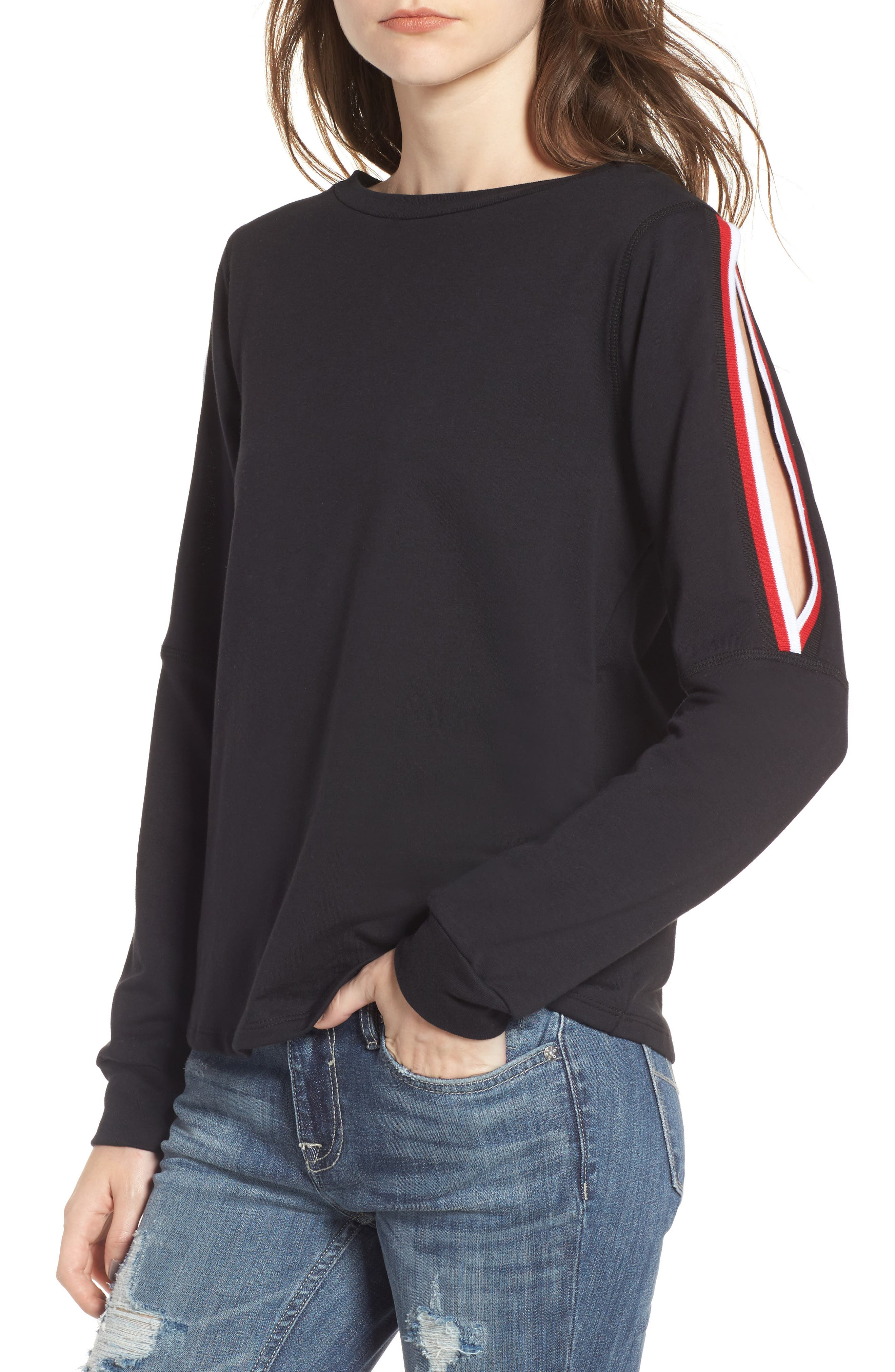 Sporty Cold Shoulder Sweatshirt,                         Main,                         color, 001