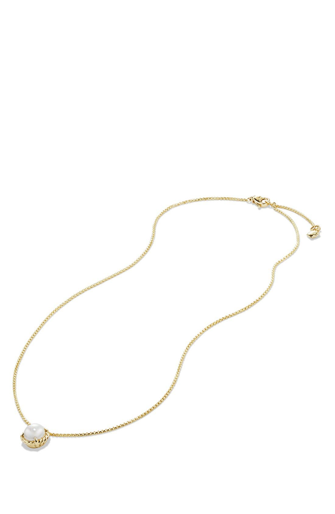 DAVID YURMAN,                             'Châtelaine' Pendant Necklace with Freshwater Pearl in 18K Gold,                             Alternate thumbnail 3, color,                             900