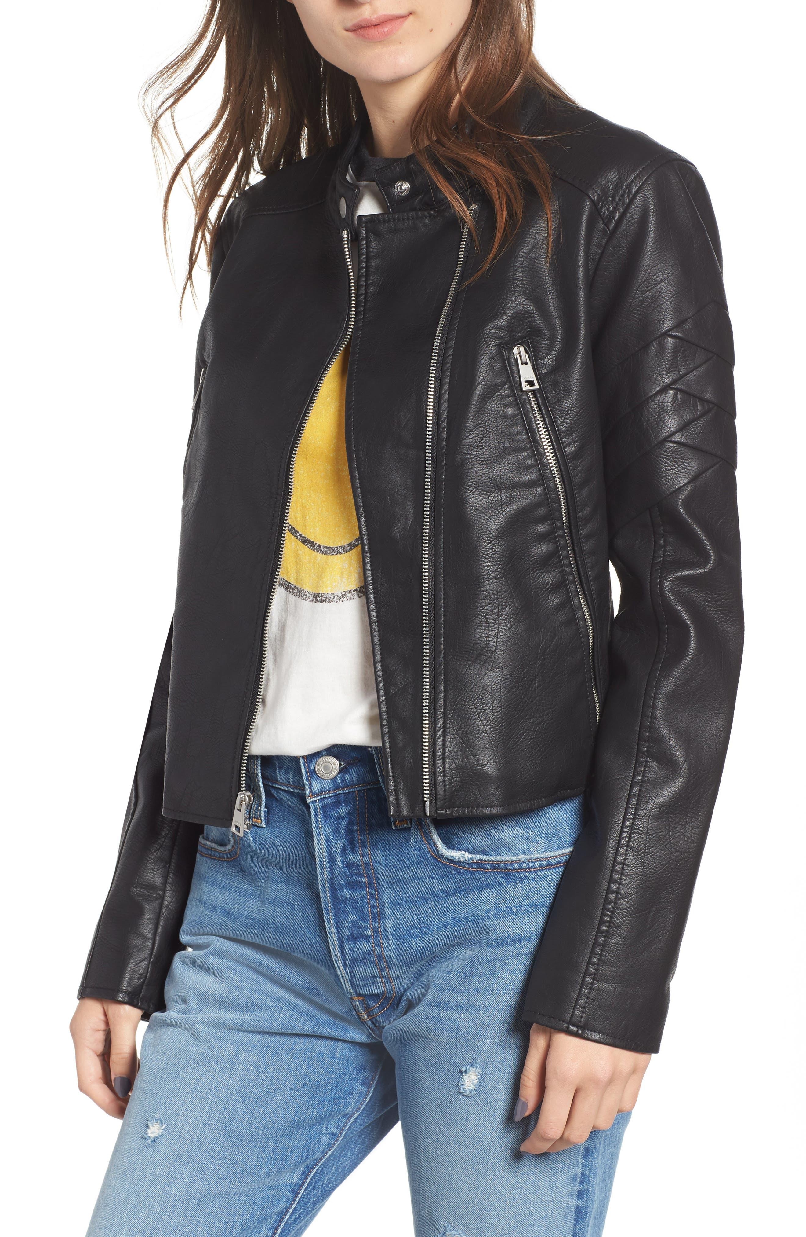 Faux Leather Moto Jacket,                             Main thumbnail 1, color,                             BLACK