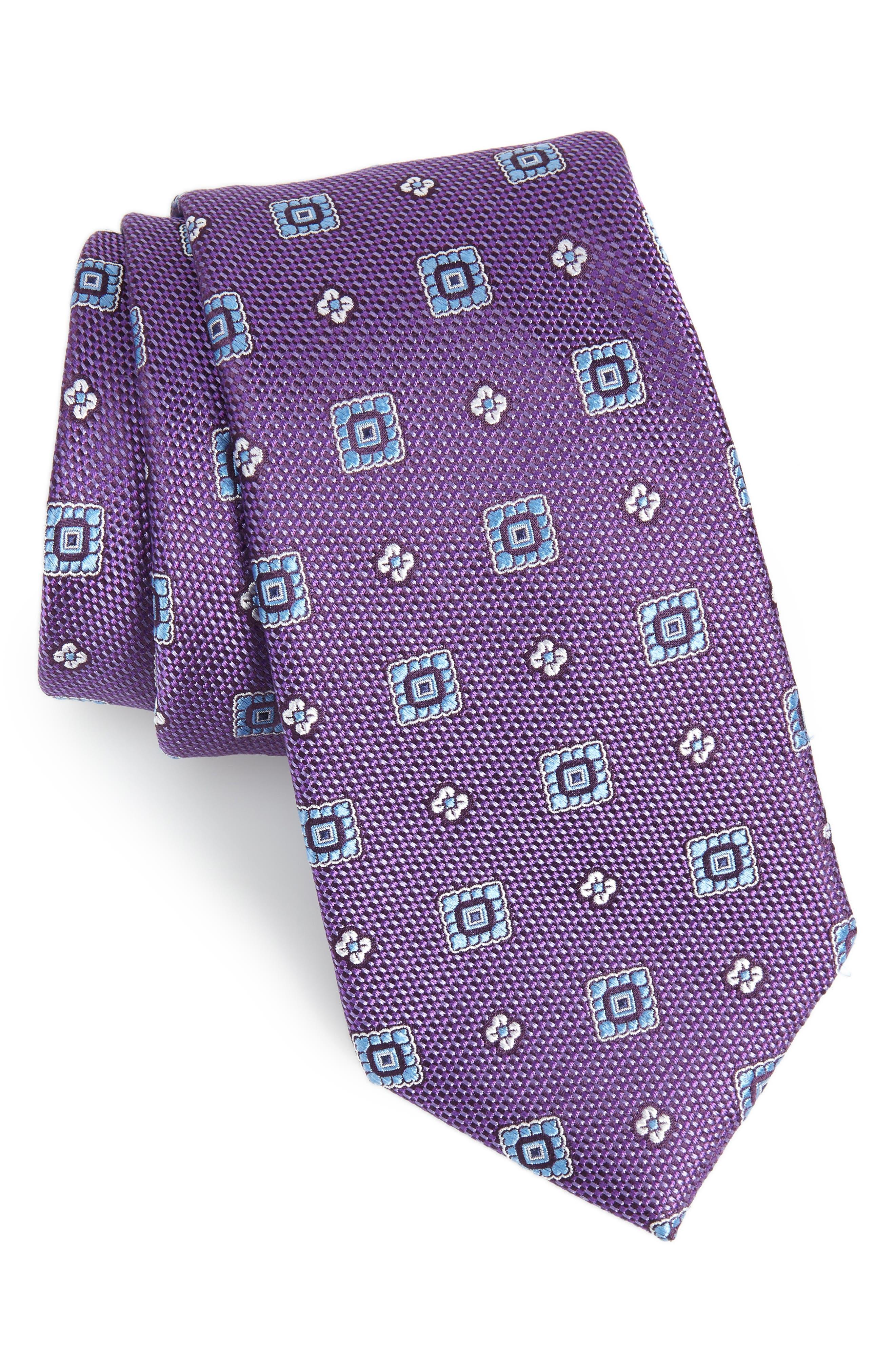 Fox Trot Medallion Silk Tie,                         Main,                         color, EGGPLANT