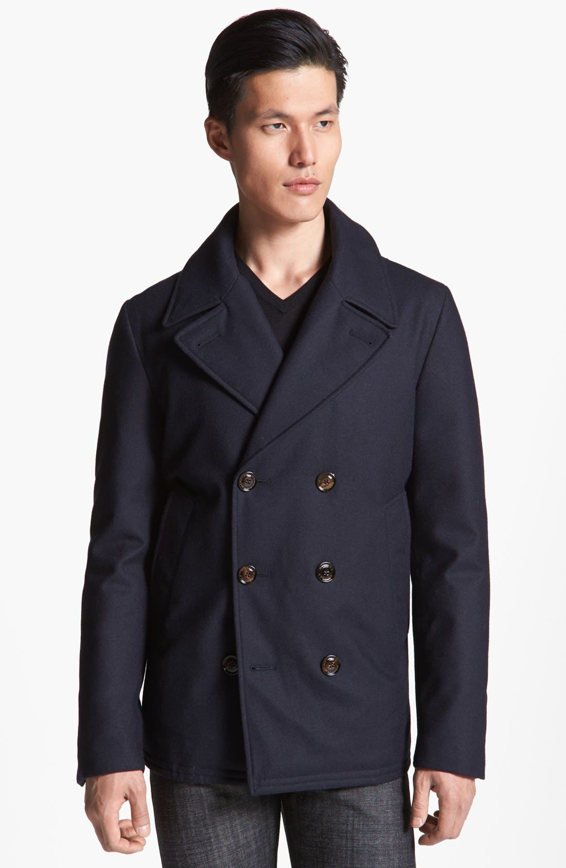 Double Breasted Wool Peacoat with Removable Down Bib,                             Alternate thumbnail 3, color,                             419