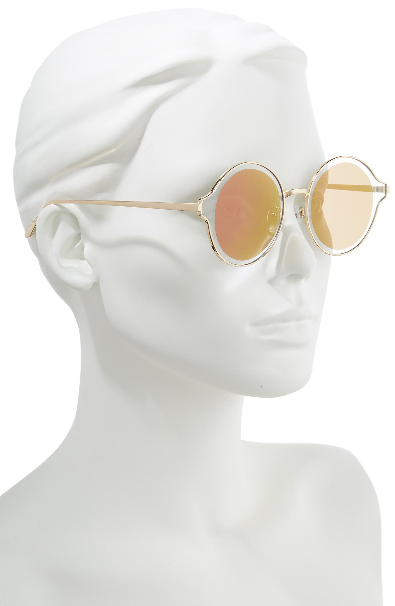 60mm Round Sunglasses,                             Alternate thumbnail 2, color,                             BROWN/ GOLD