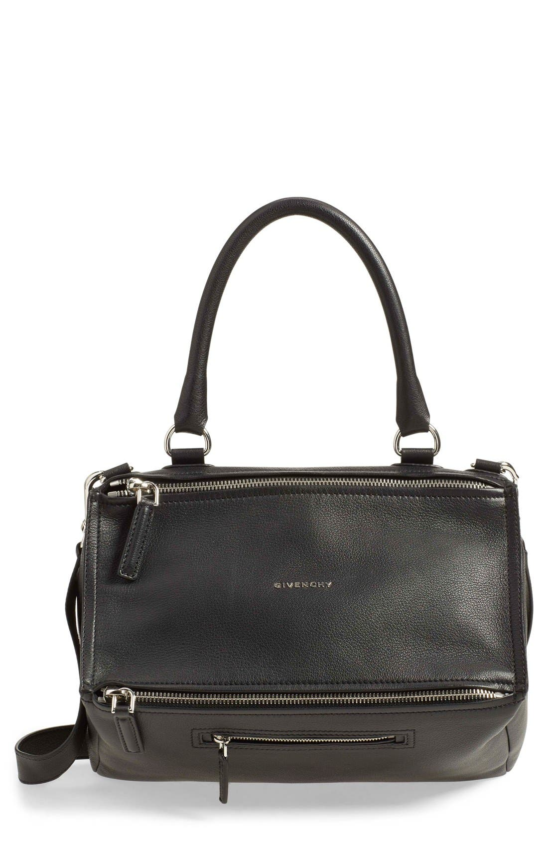 'Medium Pandora' Sugar Leather Satchel,                             Main thumbnail 1, color,                             BLACK