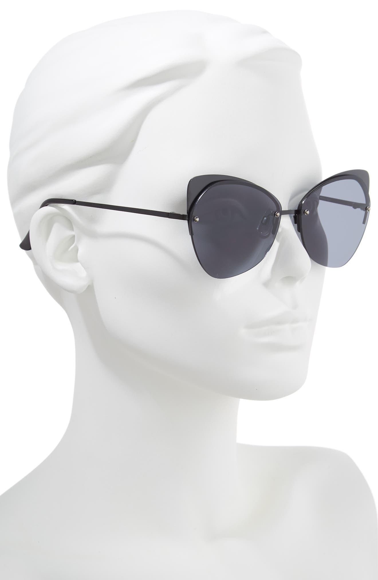 59mm Rimless Cat Eye Sunglasses,                             Alternate thumbnail 2, color,                             001
