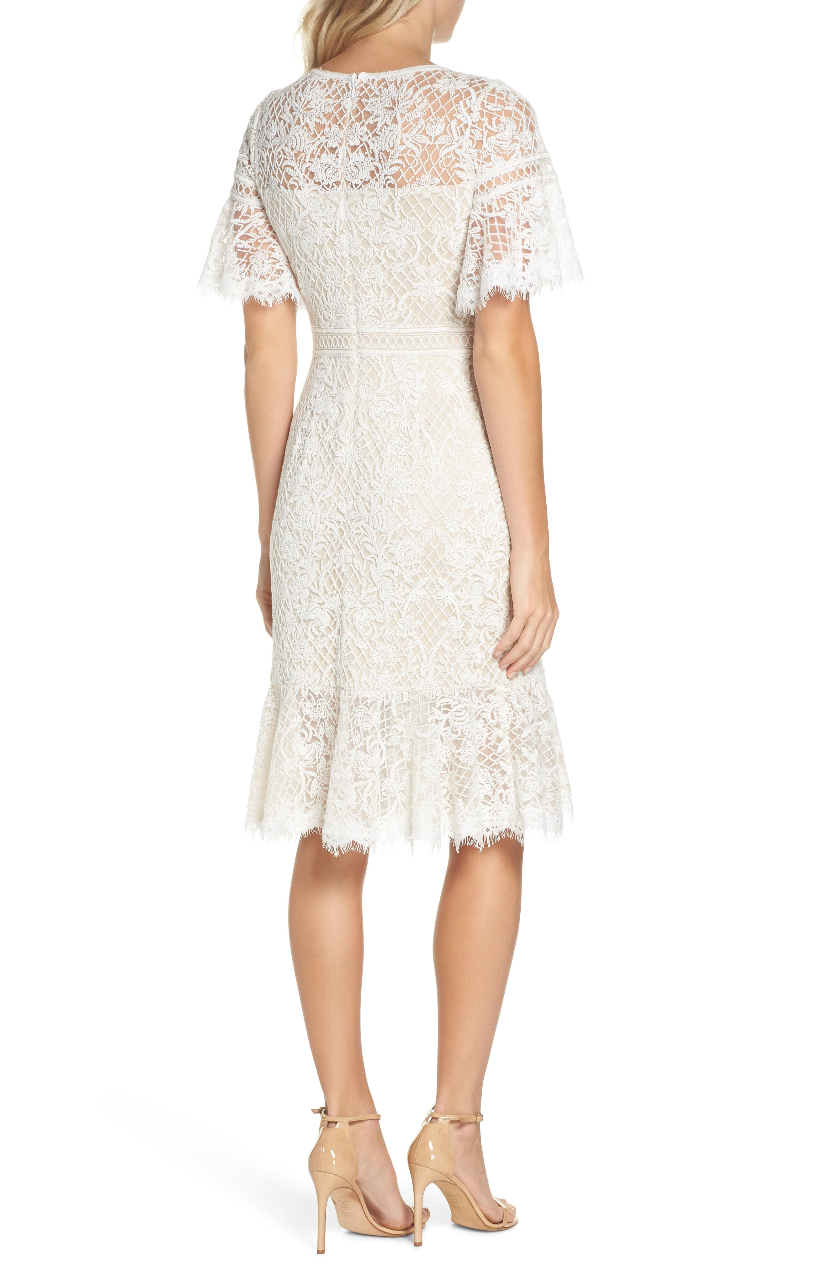 Embroidered Mesh Dress,                             Alternate thumbnail 2, color,                             IVORY/ NATURAL