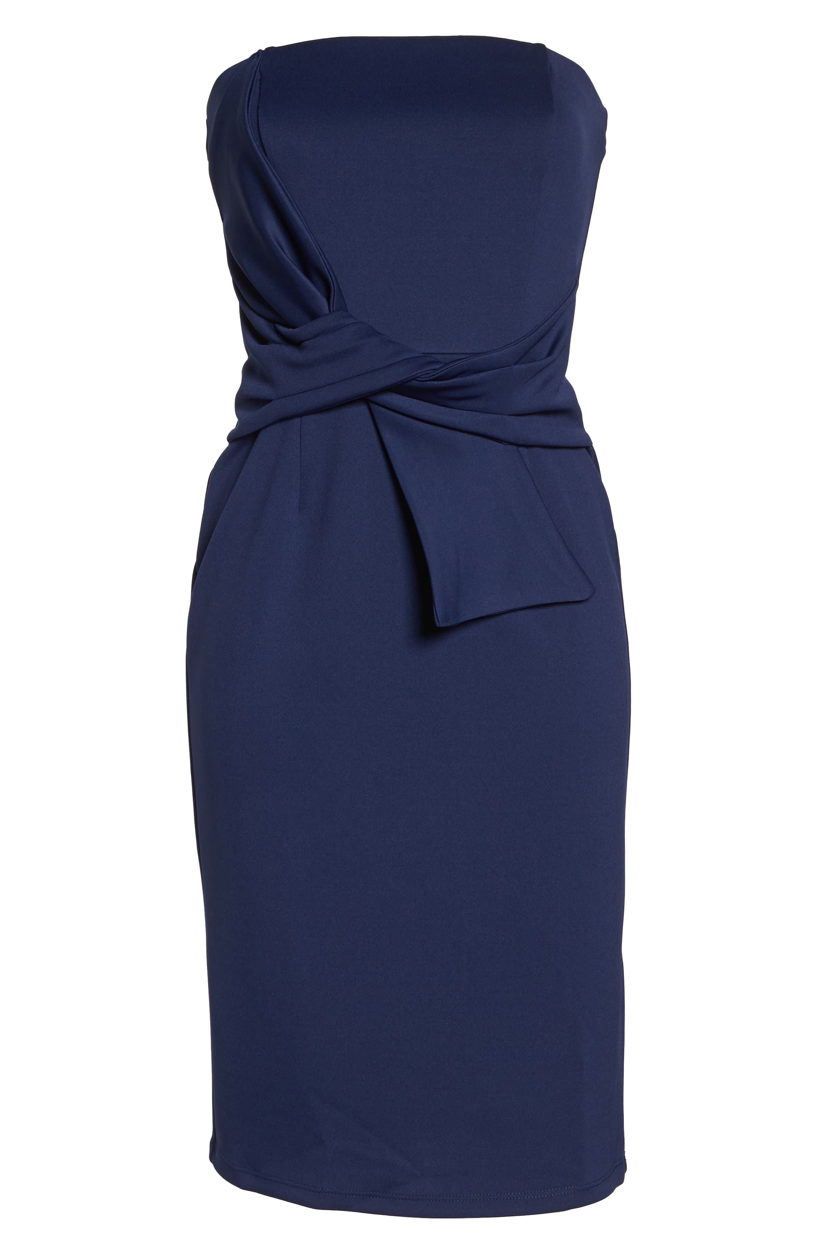 Strapless Tie Front Sheath Dress,                             Alternate thumbnail 7, color,                             401