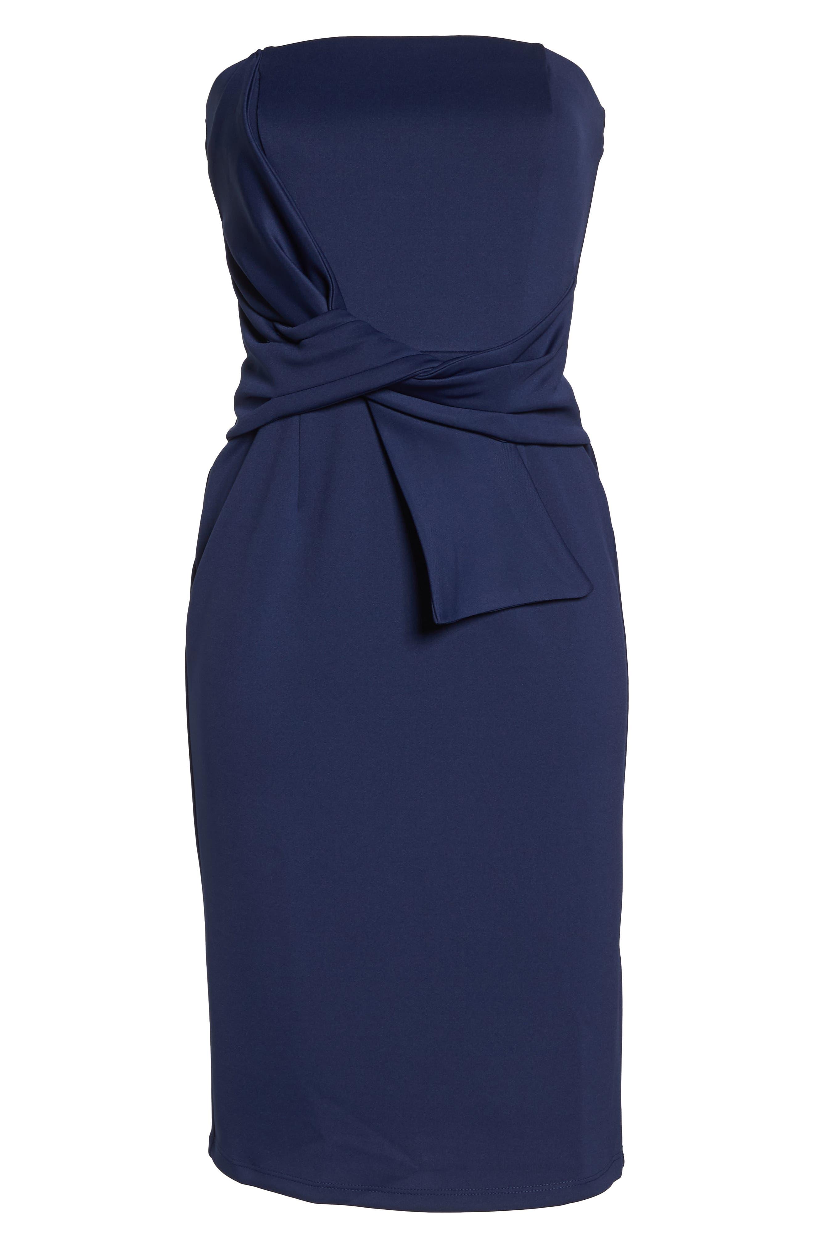 Strapless Tie Front Sheath Dress,                             Alternate thumbnail 7, color,