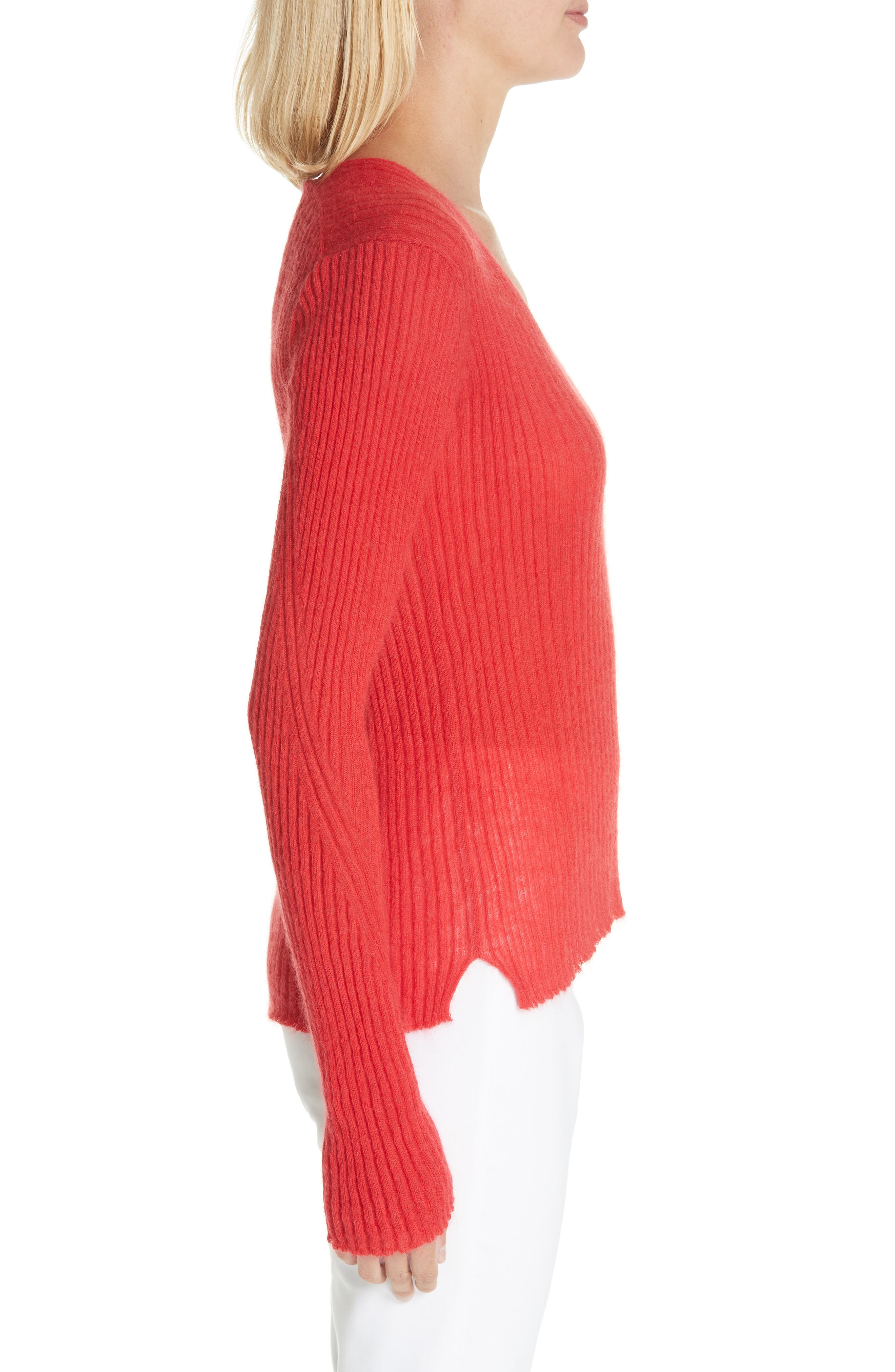 Donna Mohair & Wool Blend Sweater,                             Alternate thumbnail 3, color,                             RED