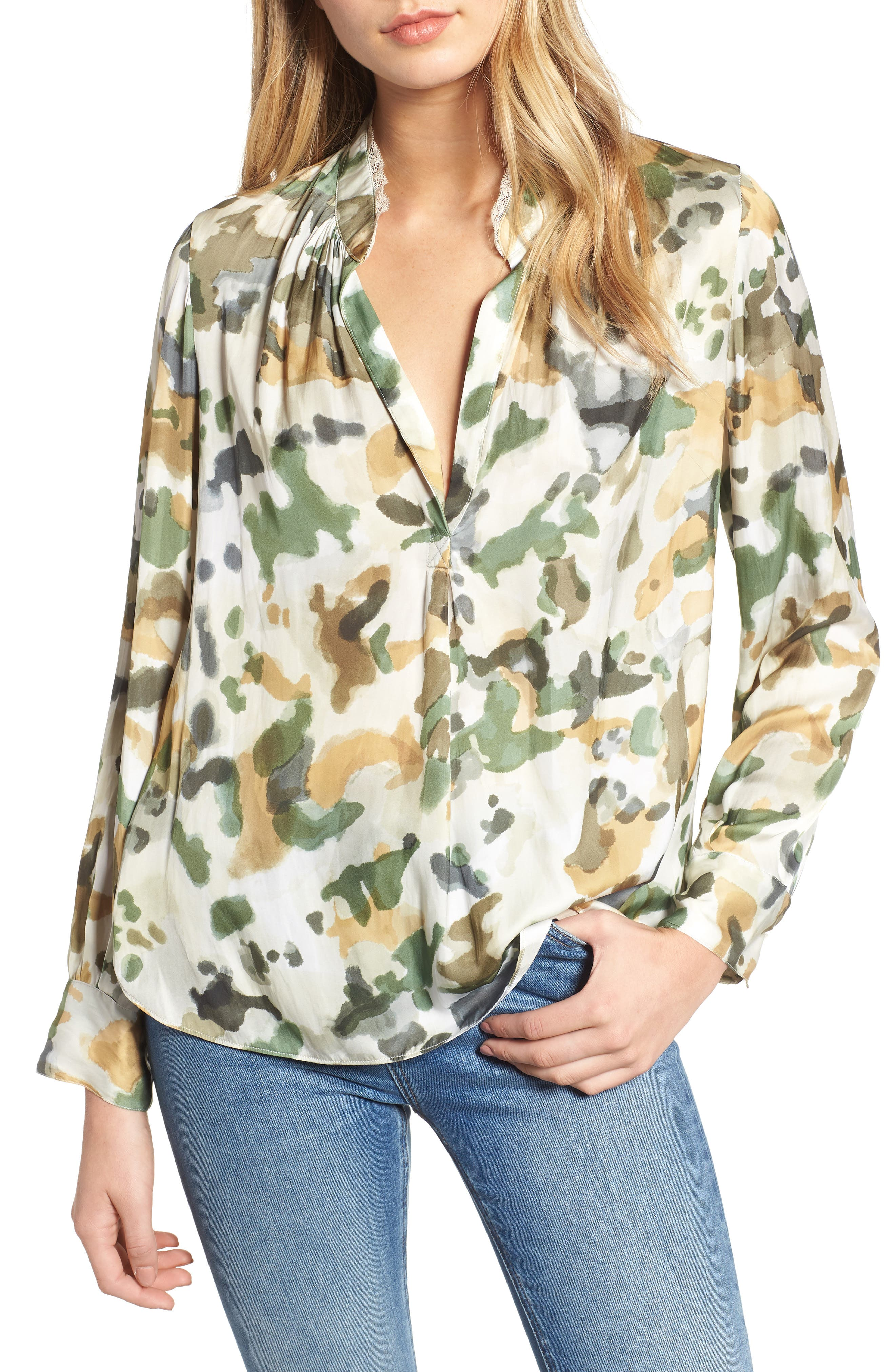 Tink Camouflage Top,                         Main,                         color, BEIGE