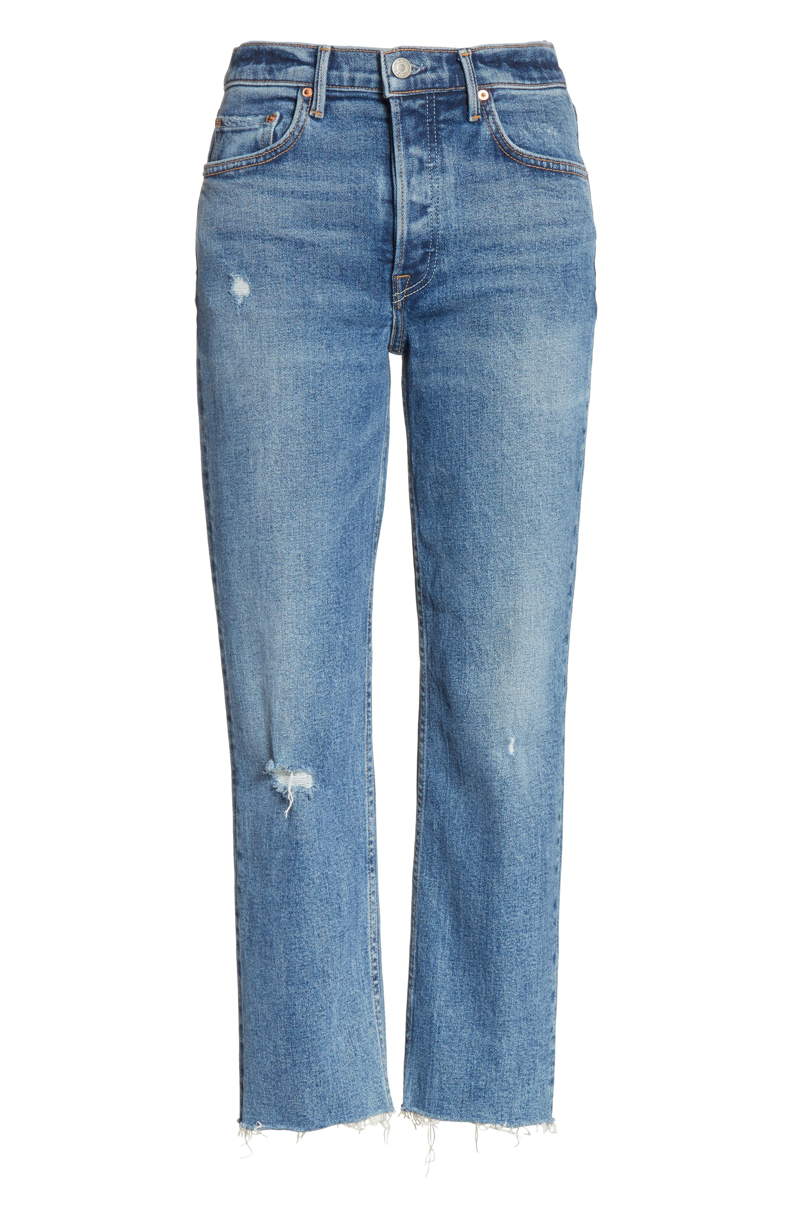Helena Distressed Rigid High Waist Straight Jeans,                             Alternate thumbnail 6, color,                             470