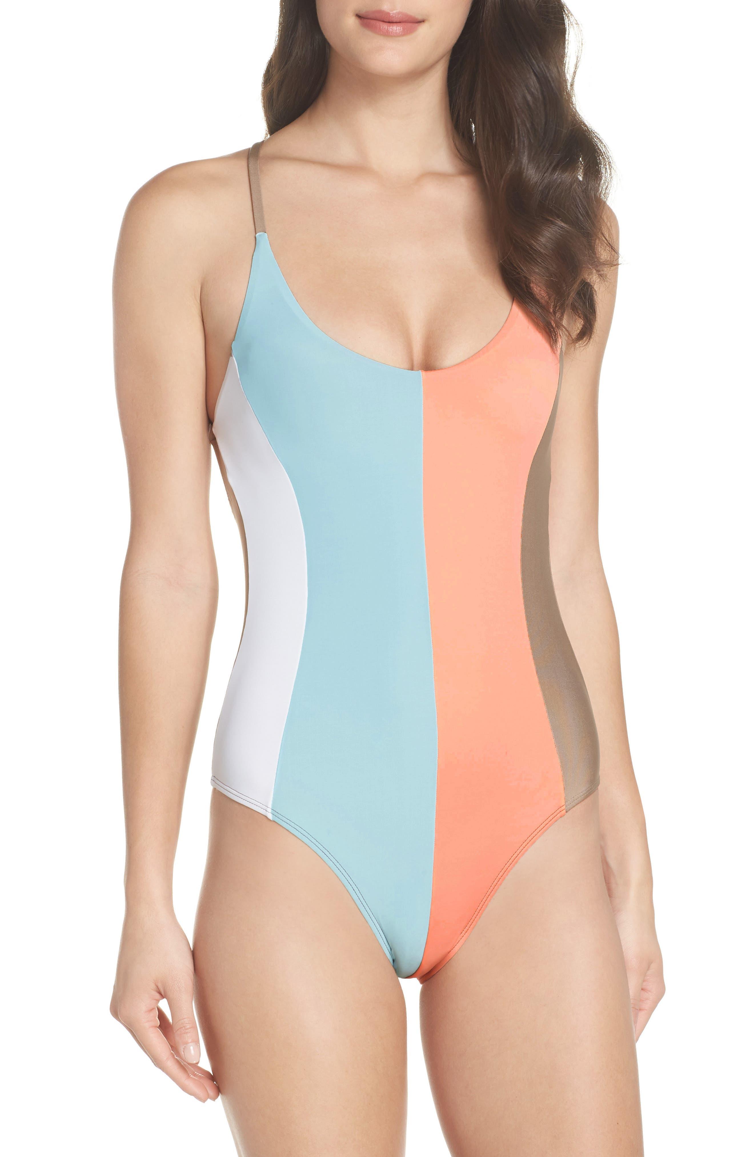 Farrah Stripe One-Piece Swimsuit,                         Main,                         color, 430