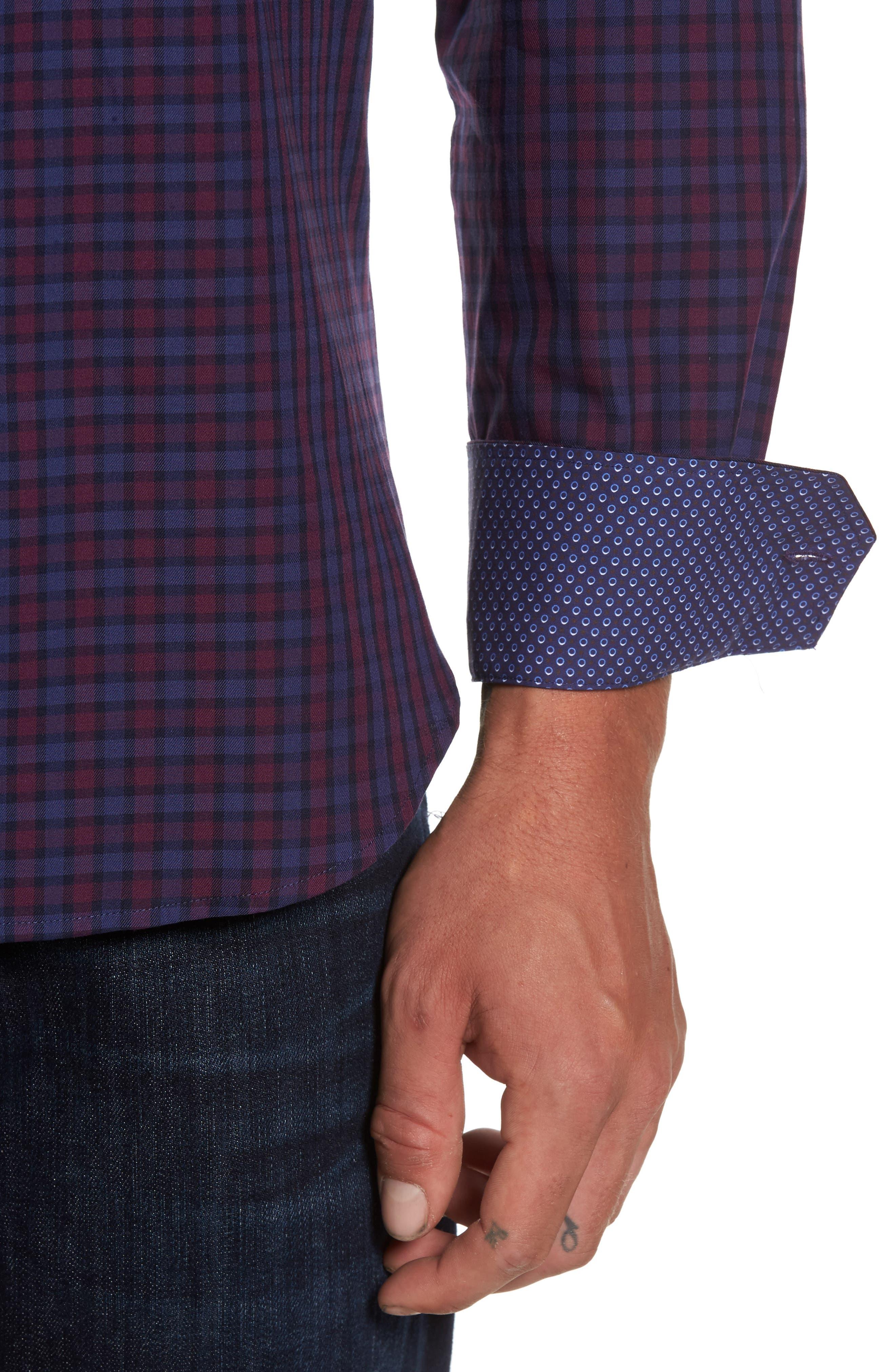 Shaped Fit Plaid Sport Shirt,                             Alternate thumbnail 4, color,                             503