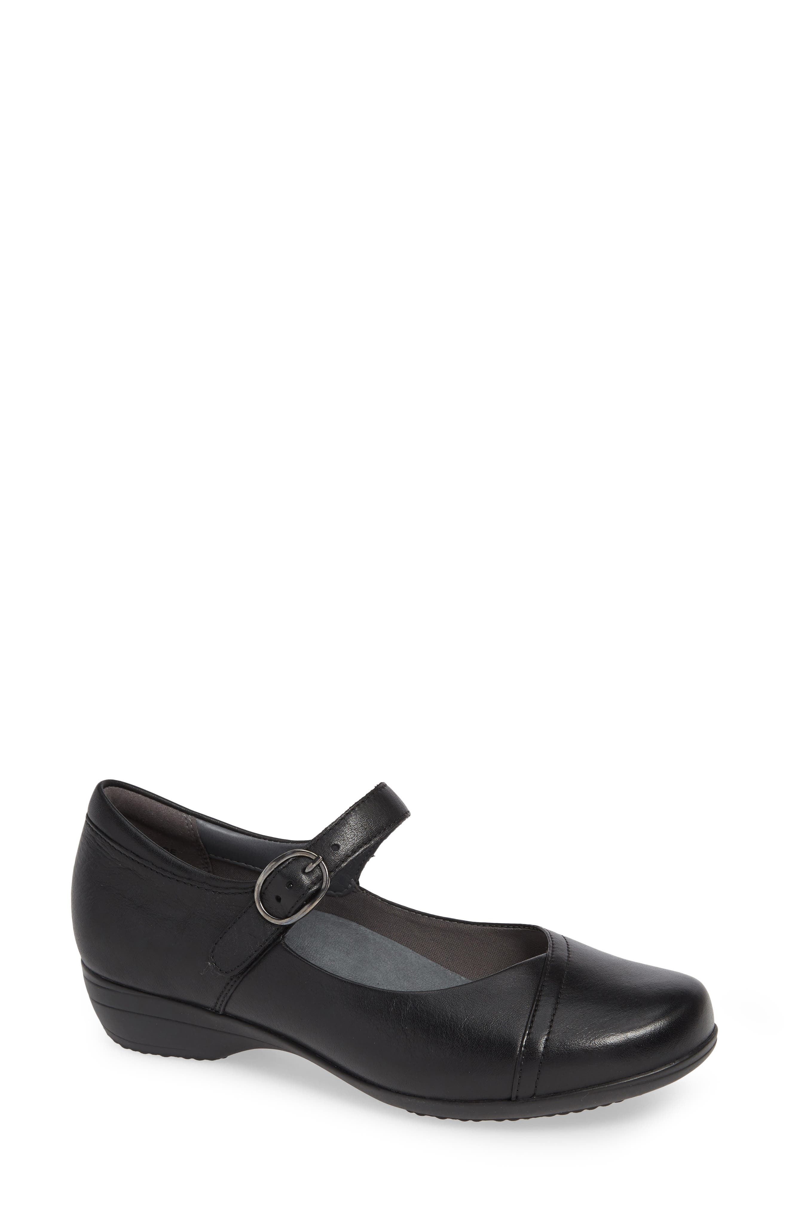 Fawna Mary Jane Flat,                             Main thumbnail 1, color,                             BLACK MILLED LEATHER