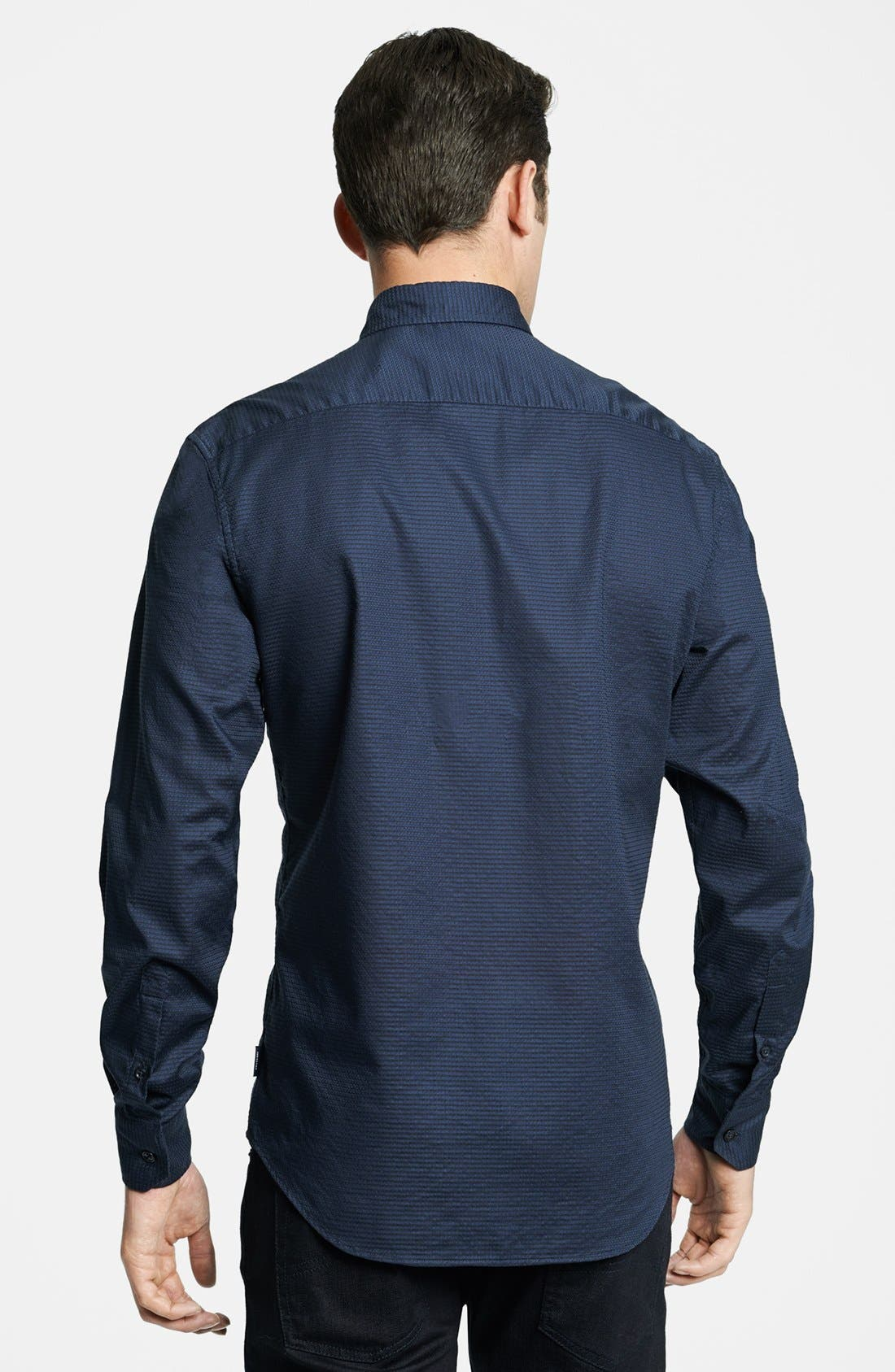 Geometric Textured Sport Shirt,                             Alternate thumbnail 5, color,                             411