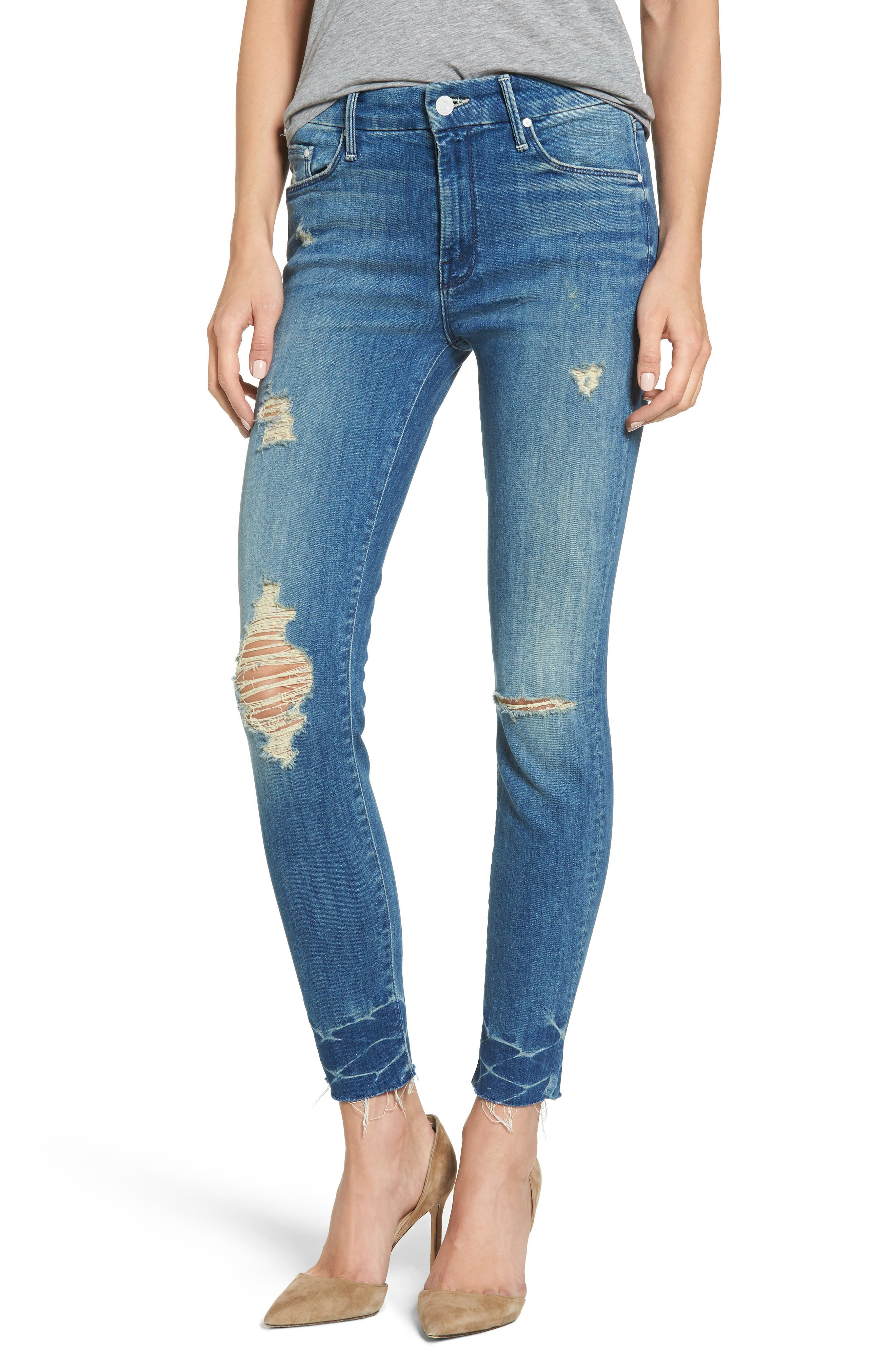 The Looker Frayed Ankle Skinny Jeans,                             Main thumbnail 1, color,                             414