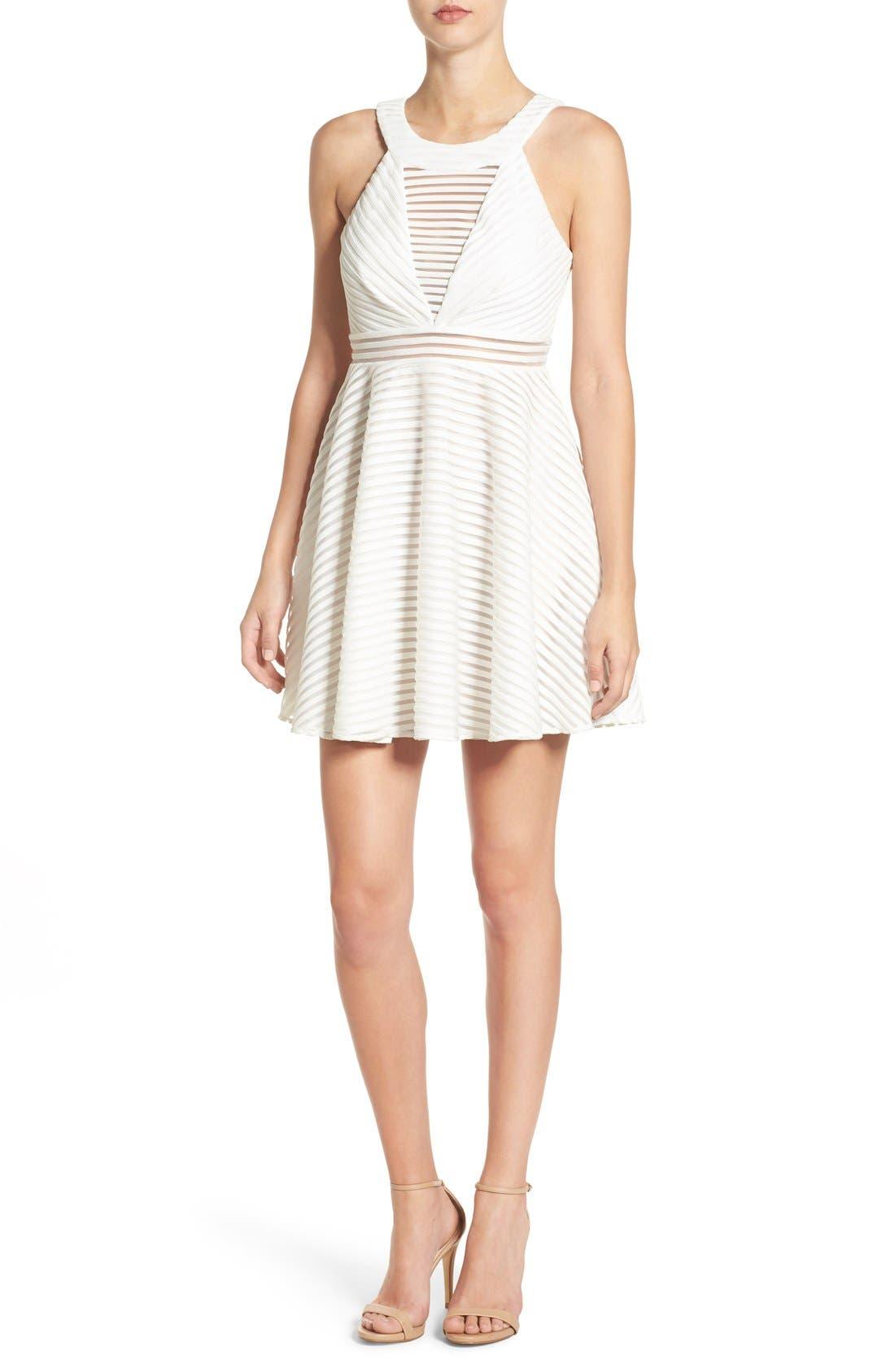 High Neck Shadow Stripe Skater Dress,                         Main,                         color, 151