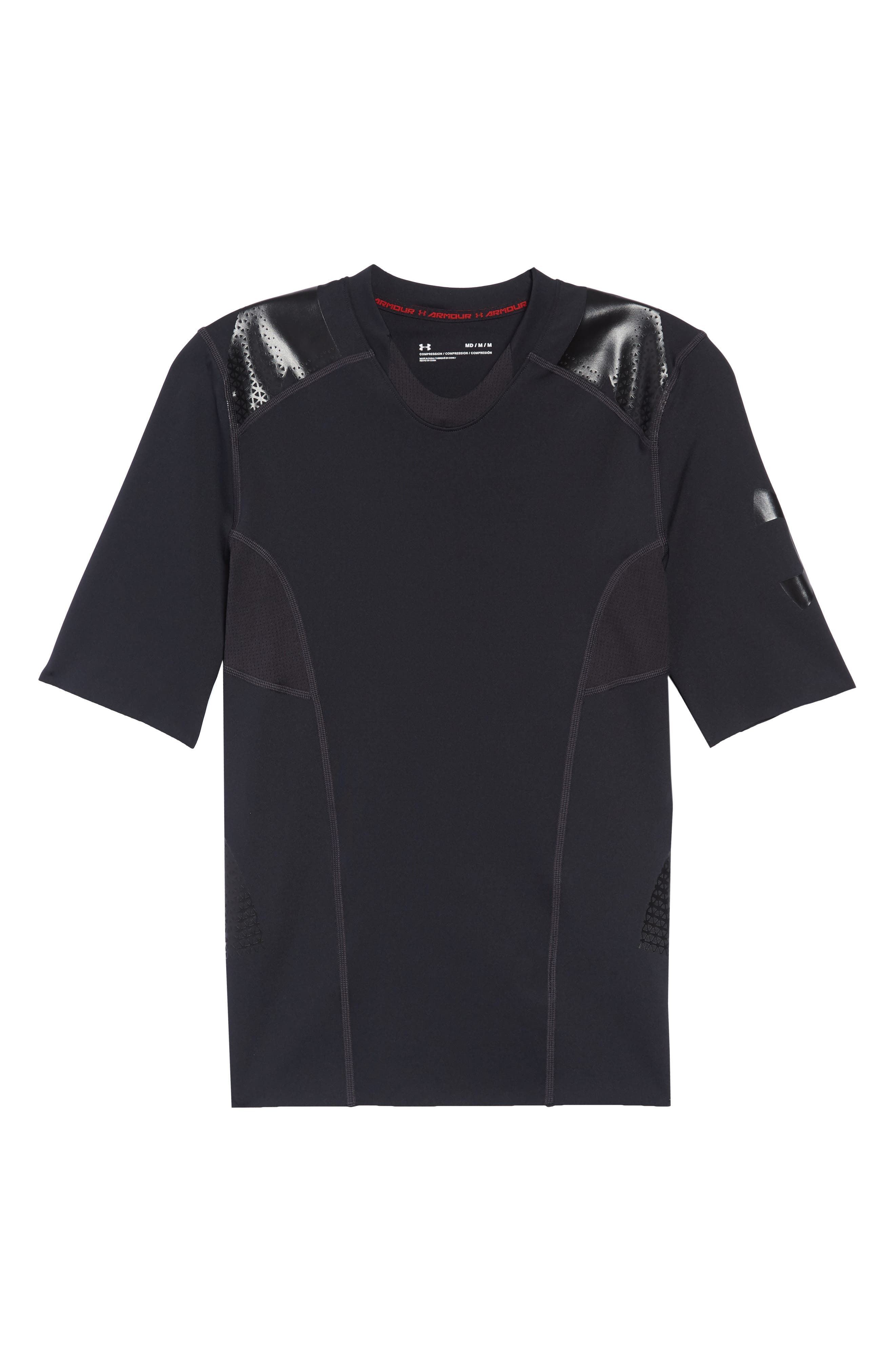 Perpetual Half Sleeve Fitted Shirt,                             Alternate thumbnail 6, color,                             BLACK
