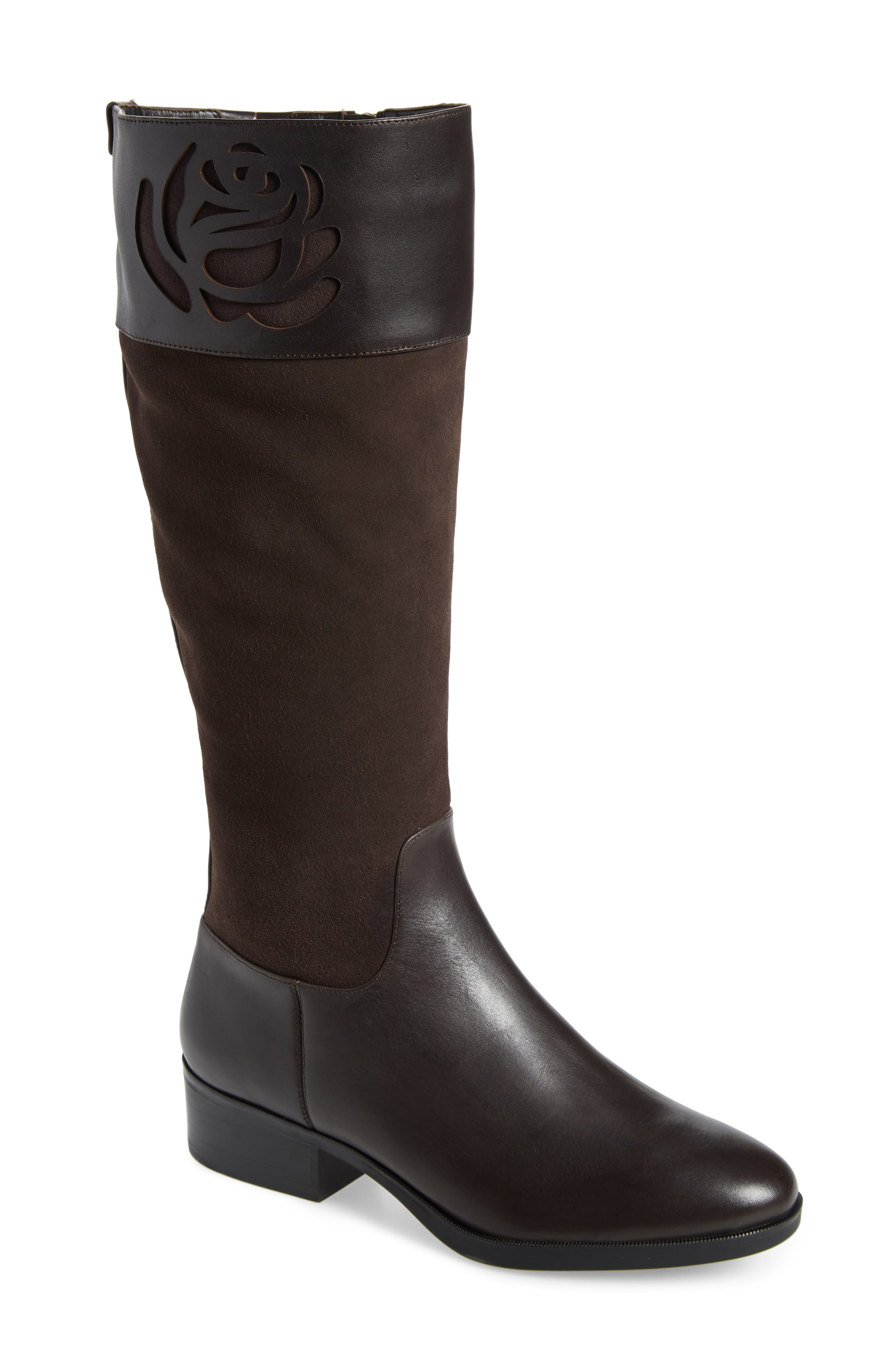 TARYN ROSE Georgia Water Resistant Collection Boot, Main, color, CHOCOLATE LEATHER/ SUEDE