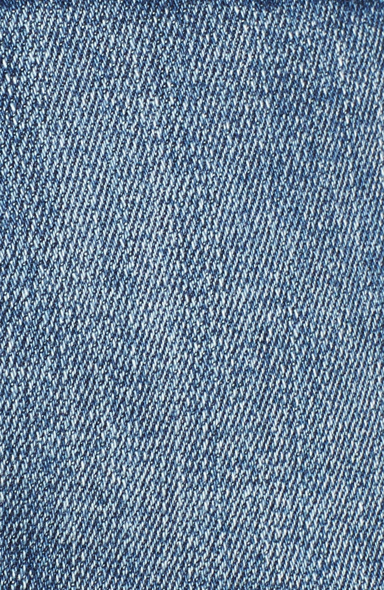 Fray Hem Star Print Denim Shorts,                             Alternate thumbnail 6, color,