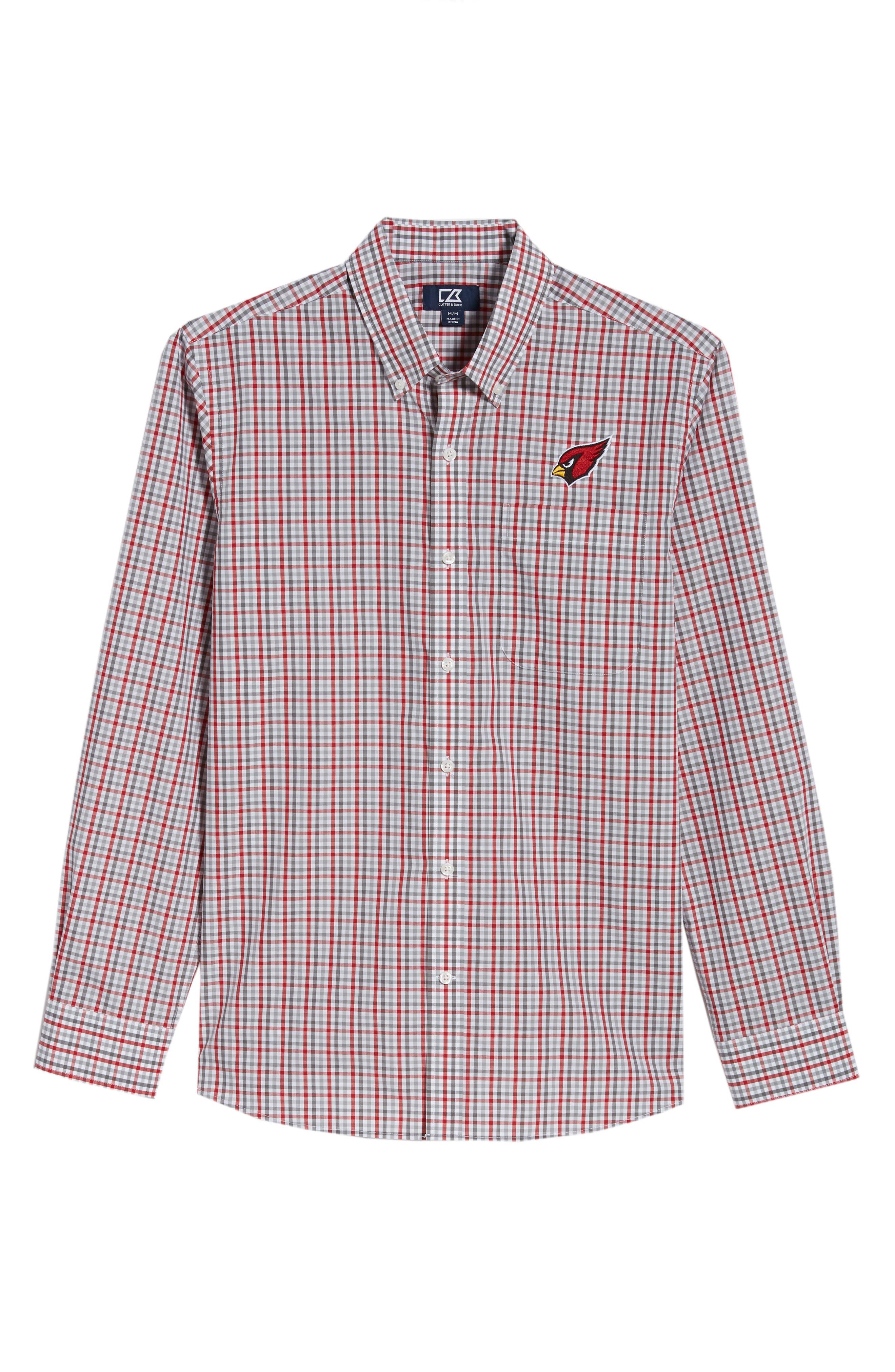 Arizona Cardinals - Gilman Regular Fit Plaid Sport Shirt,                             Alternate thumbnail 6, color,                             CARDINAL RED