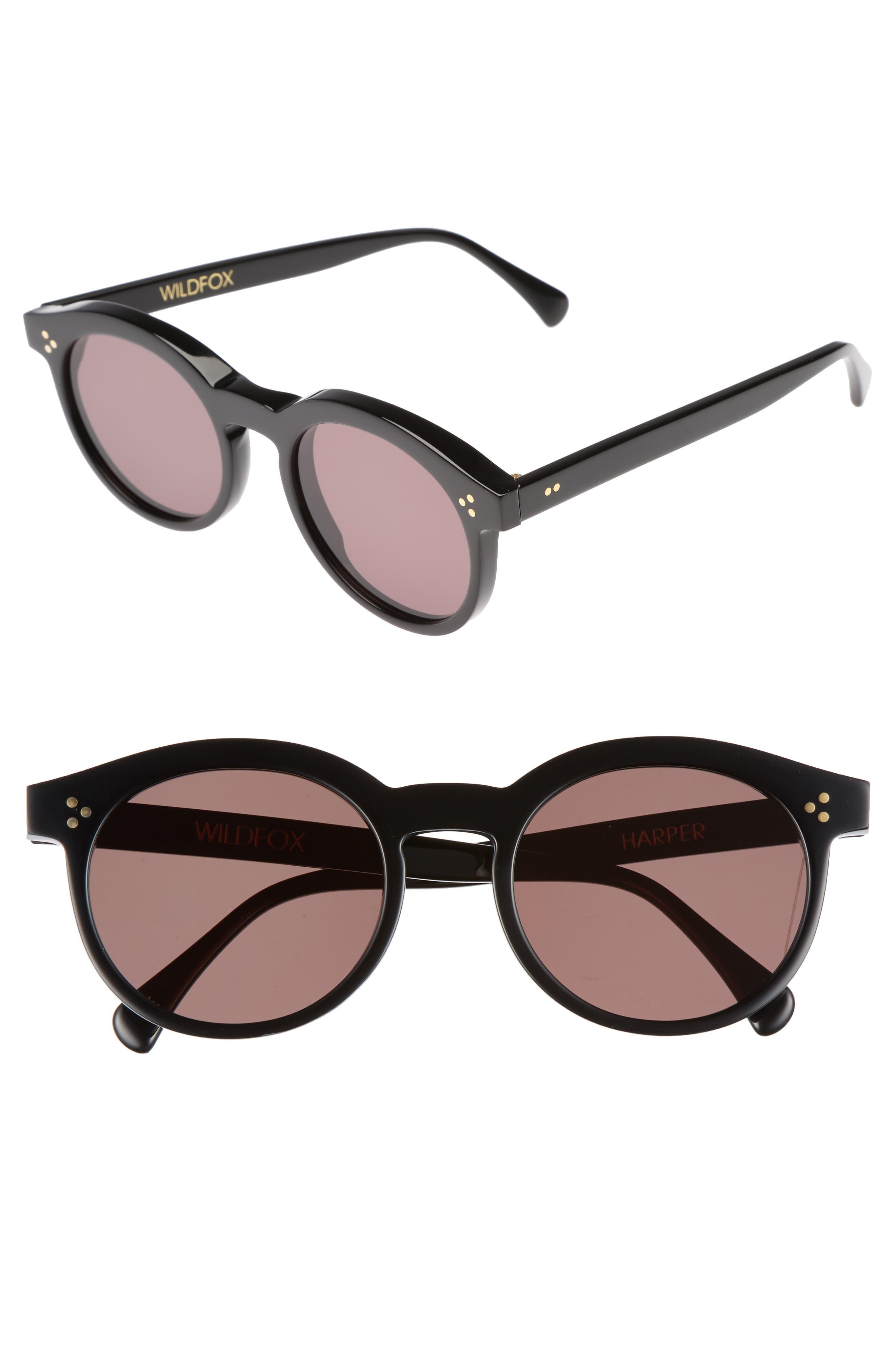Harper Zero 53mm Round Keyhole Sunglasses,                         Main,                         color, 001